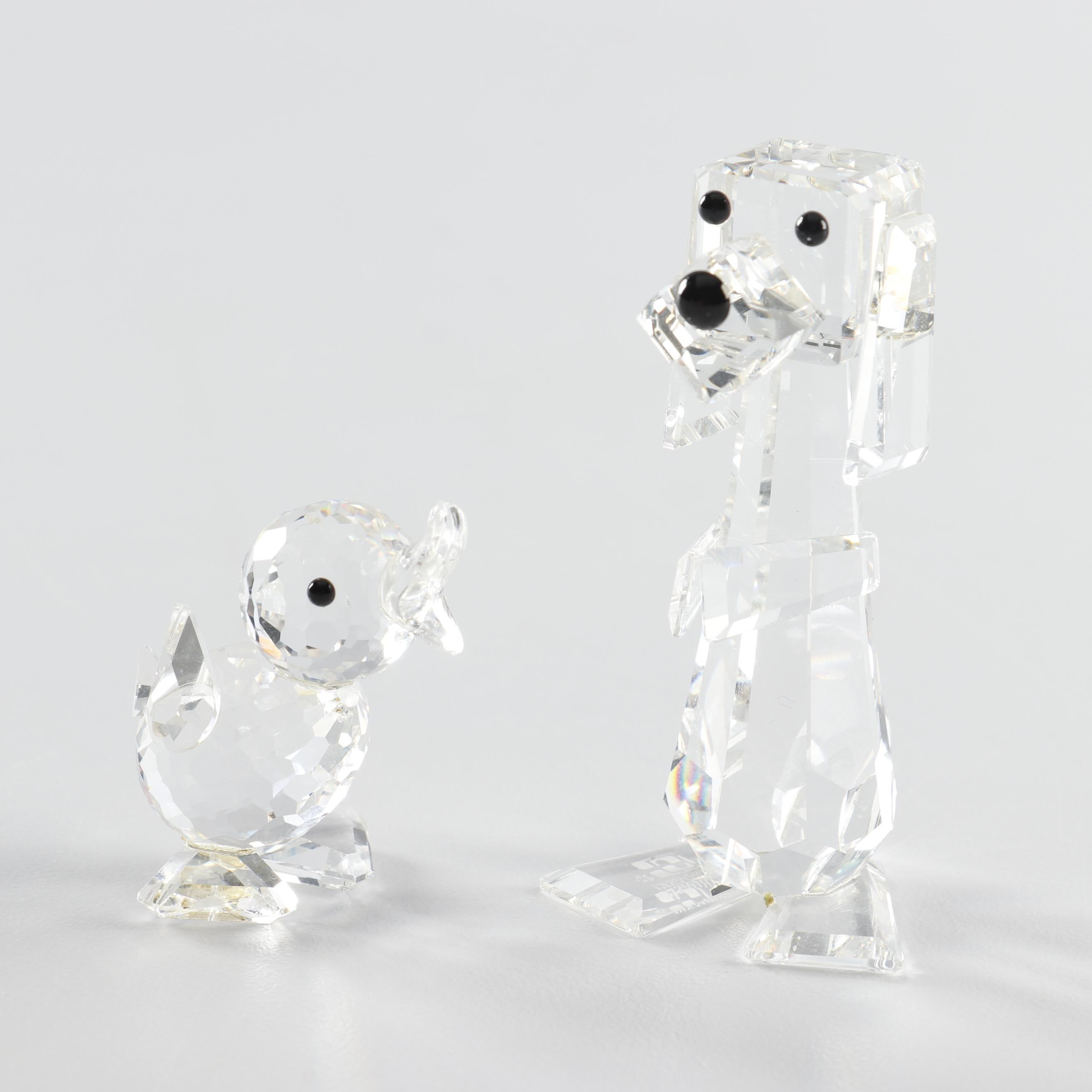 Swarovski Crystal Dog and Duck Figurines