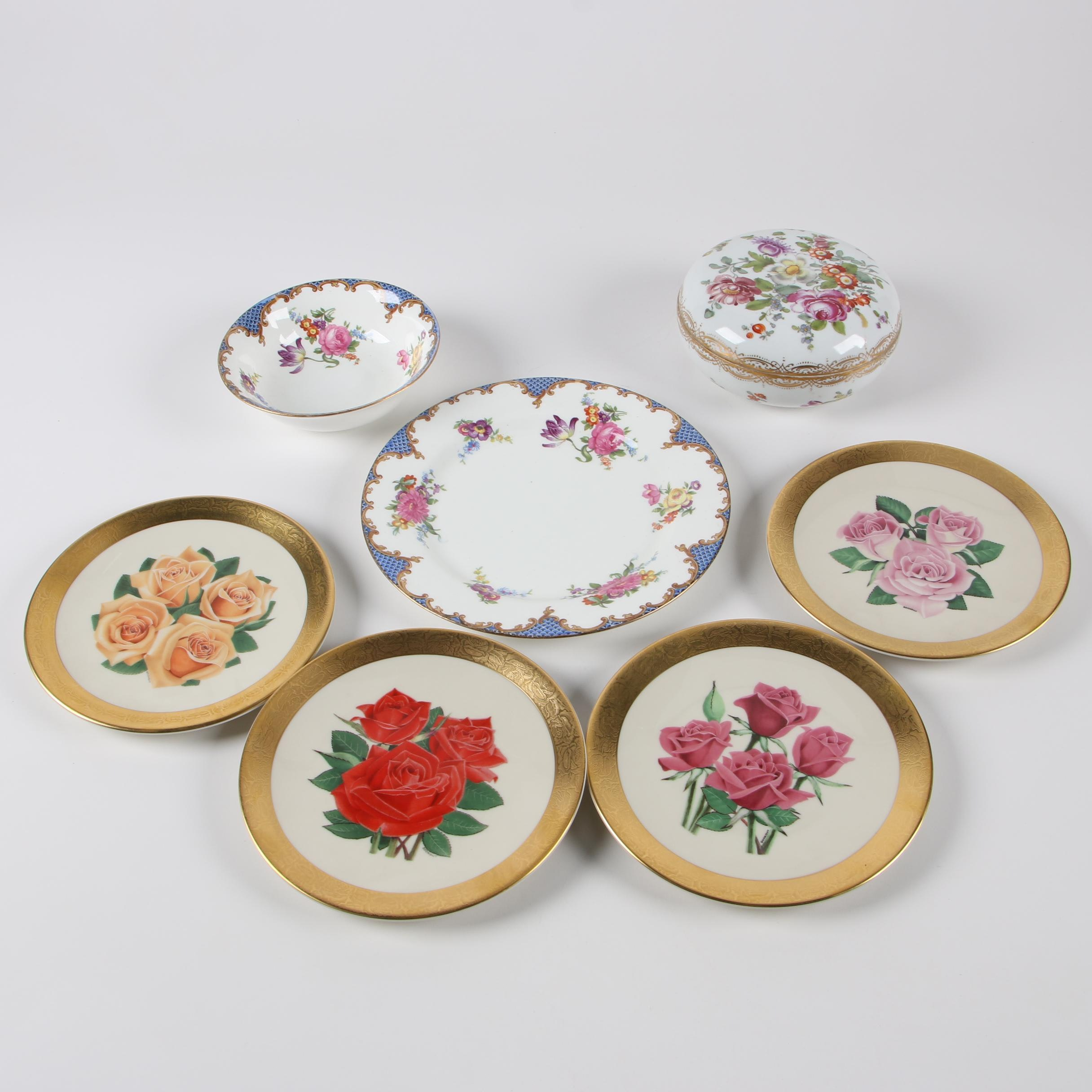 American Rose Society Collectors' Plates with European Porcelain Serveware
