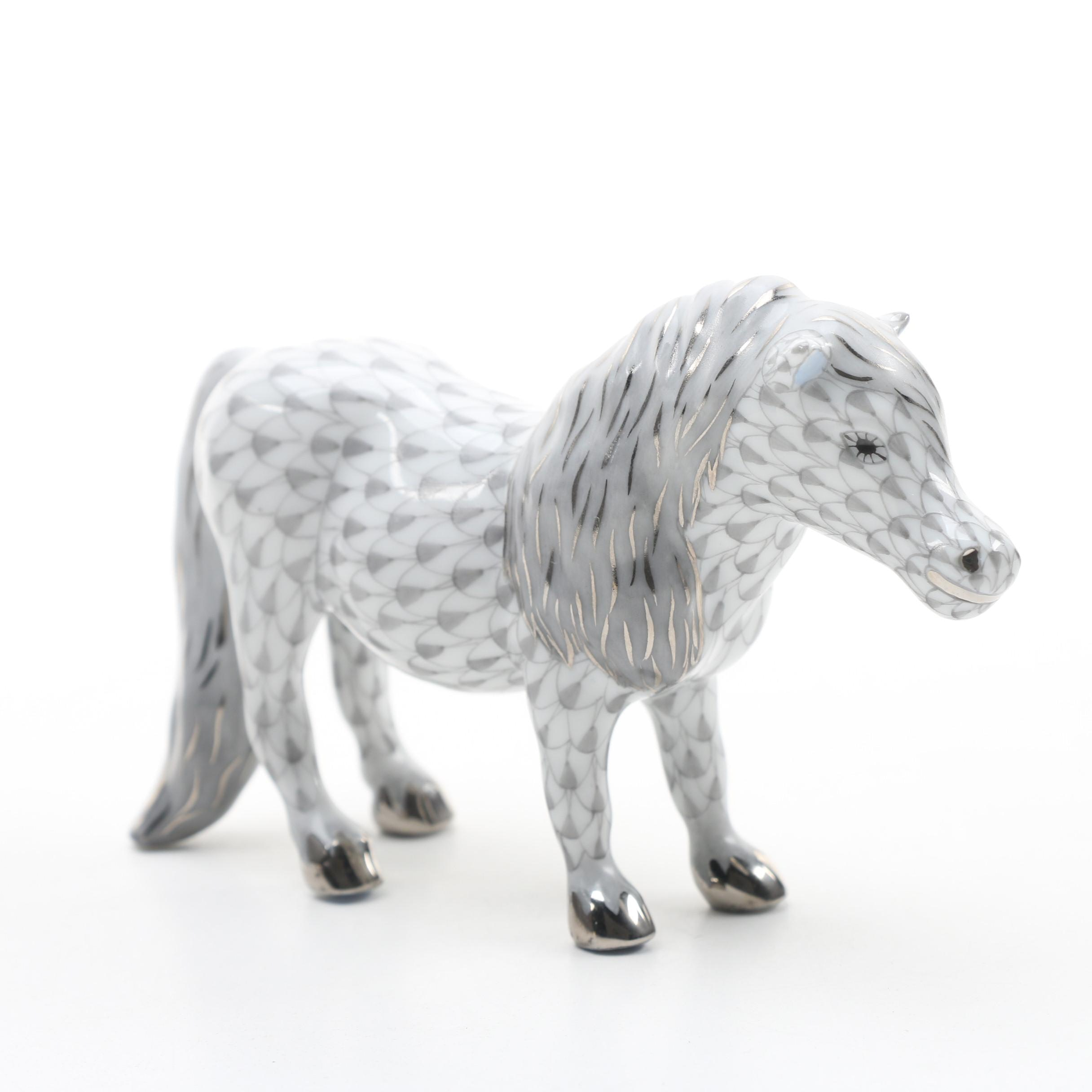 "Herend Grey Fishnet with Platinum ""Shetland Pony"" Porcelain Figurine"