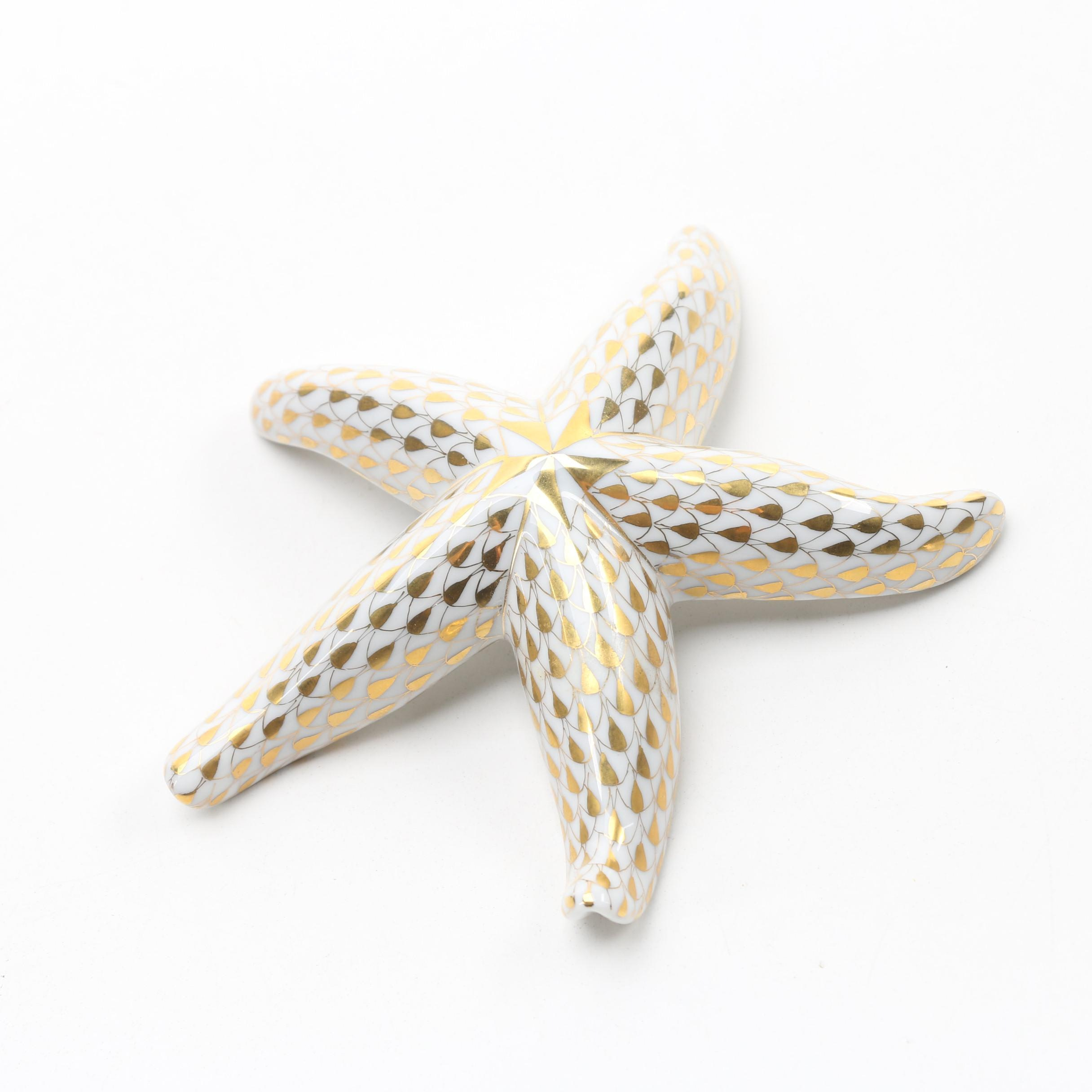 "Herend 1997 Artist Show First Edition Gold Fishnet ""Starfish"" Porcelain Figurine"