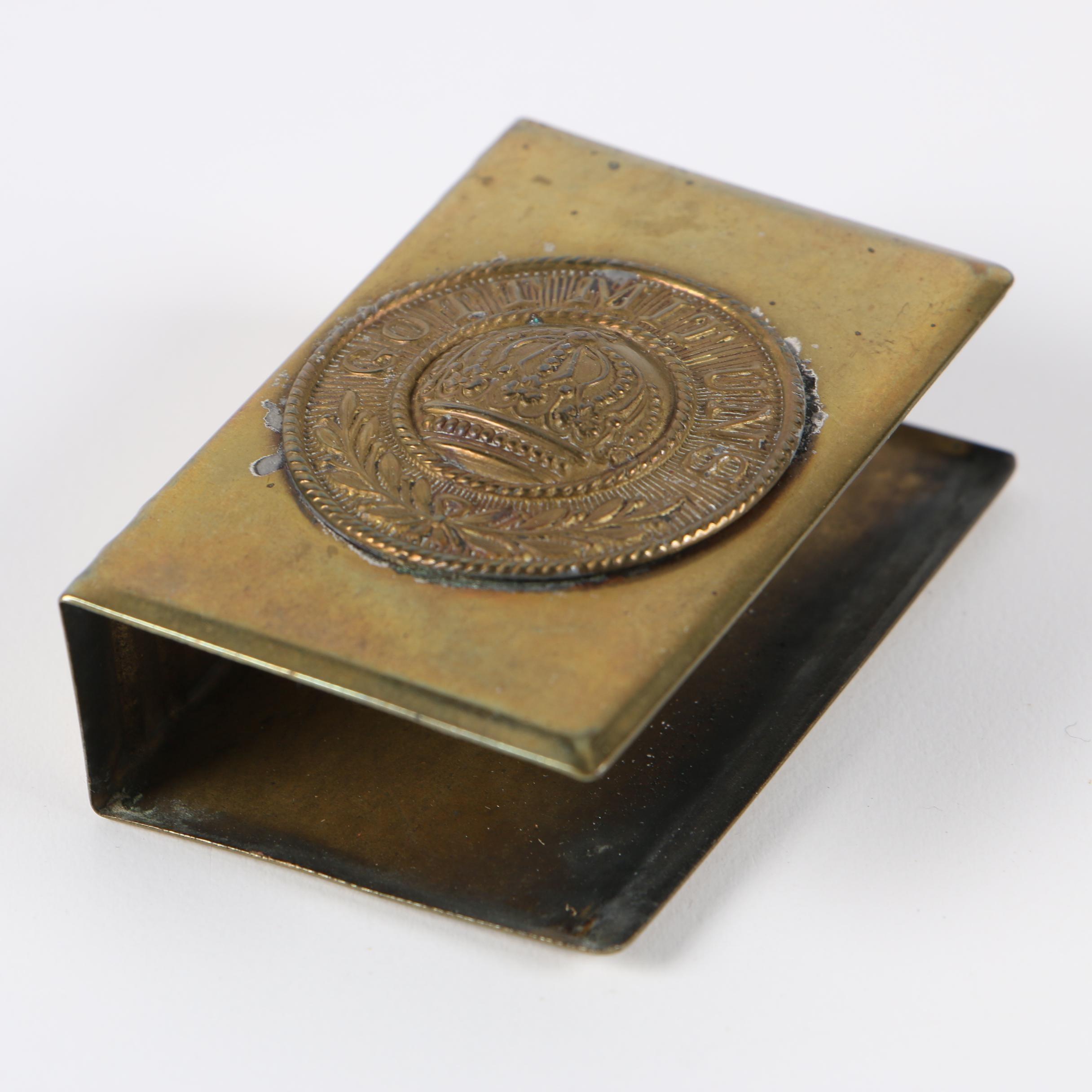 """""""Gott Mit Uns"""" Brass Matchbox Cover, WWI"""