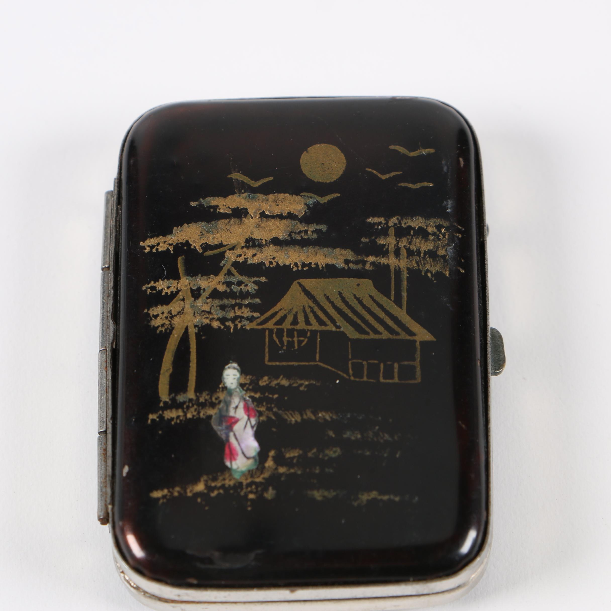 Japanese Lacquered Matchstick Holder, Mid-1920s