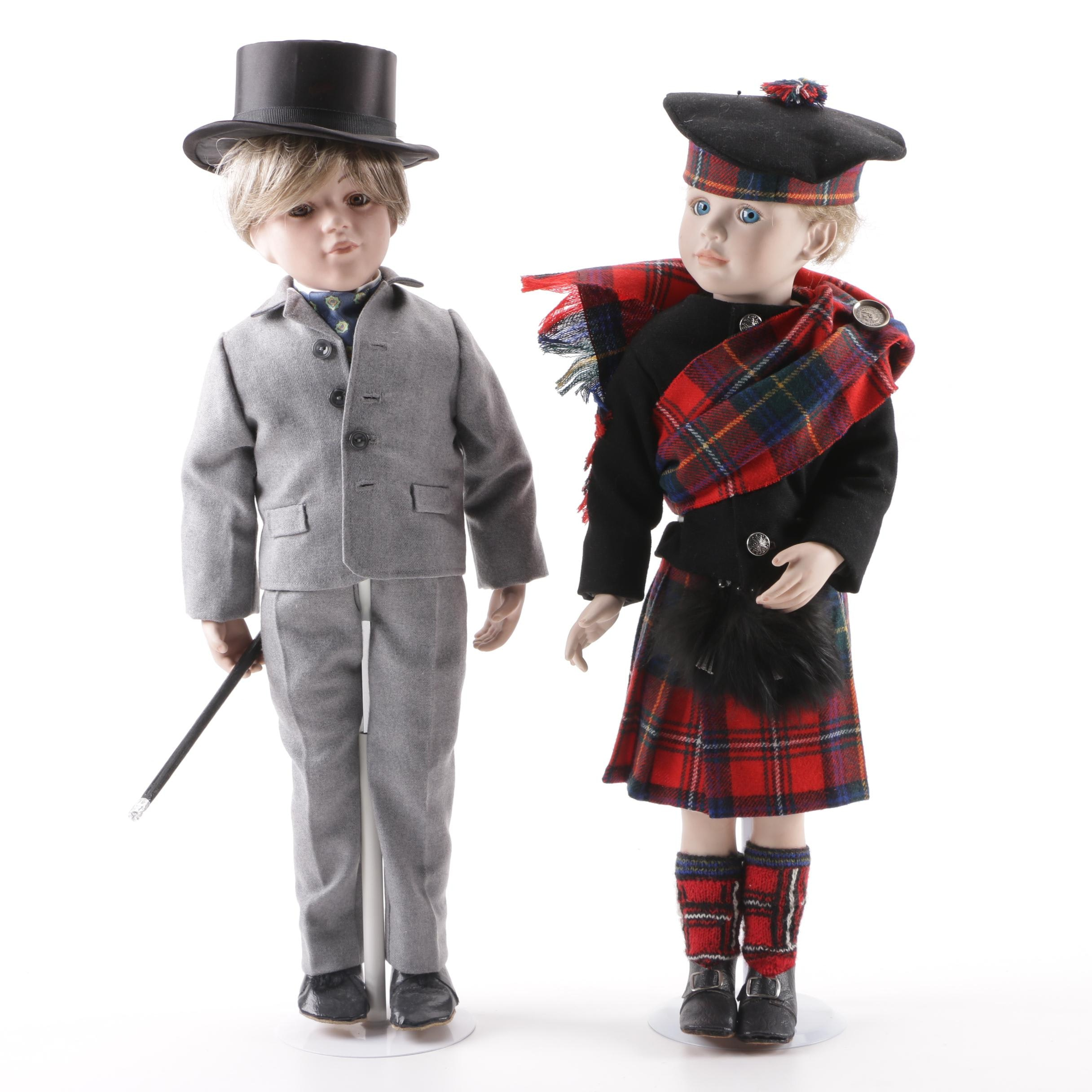 "Rose Pinkul ""Young Lad"" and Tom Francirek ""Man About Town"" Porcelain Dolls"