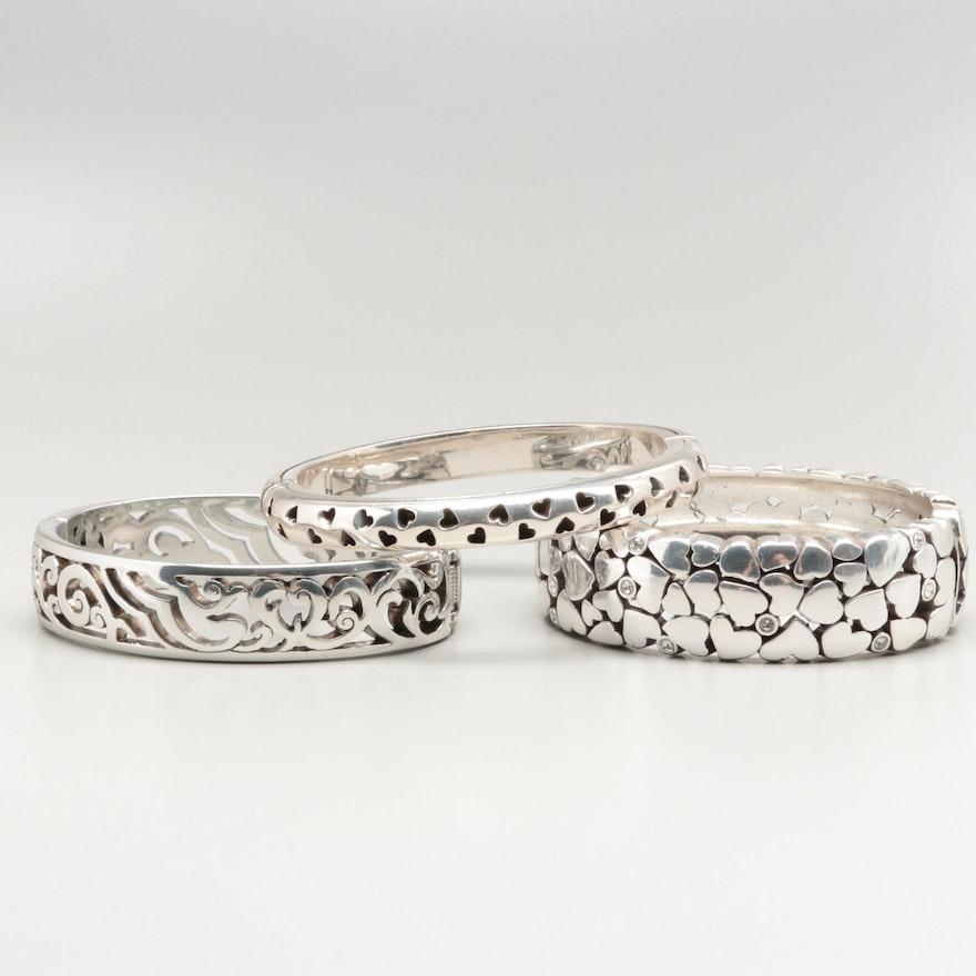 Orted Brighton Silver Tone Gl Bangle Bracelets