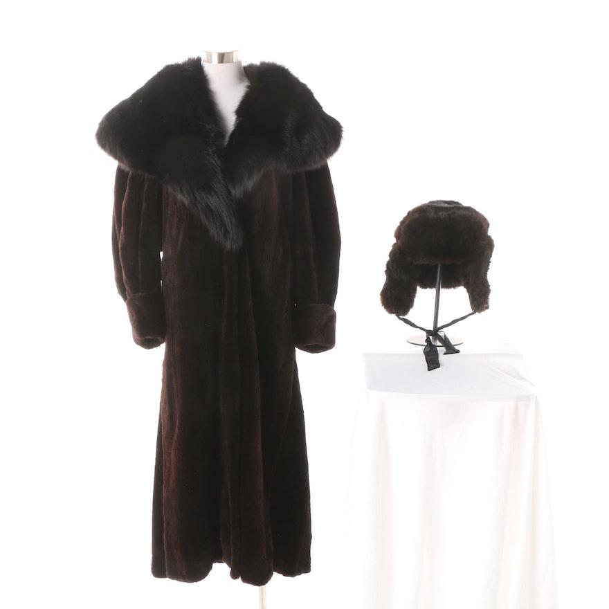 fef529d4e Brown Sheared Mink Fur Coat with Black Fox Fur Collar and Mink Fur Ushanka  Hat