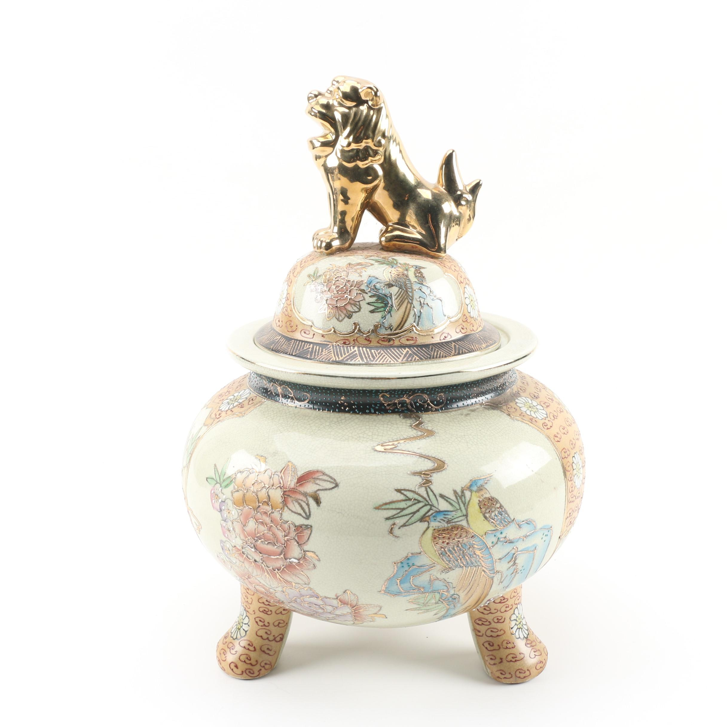Chinese Royal Satsuma Hand-Painted Lidded Jar