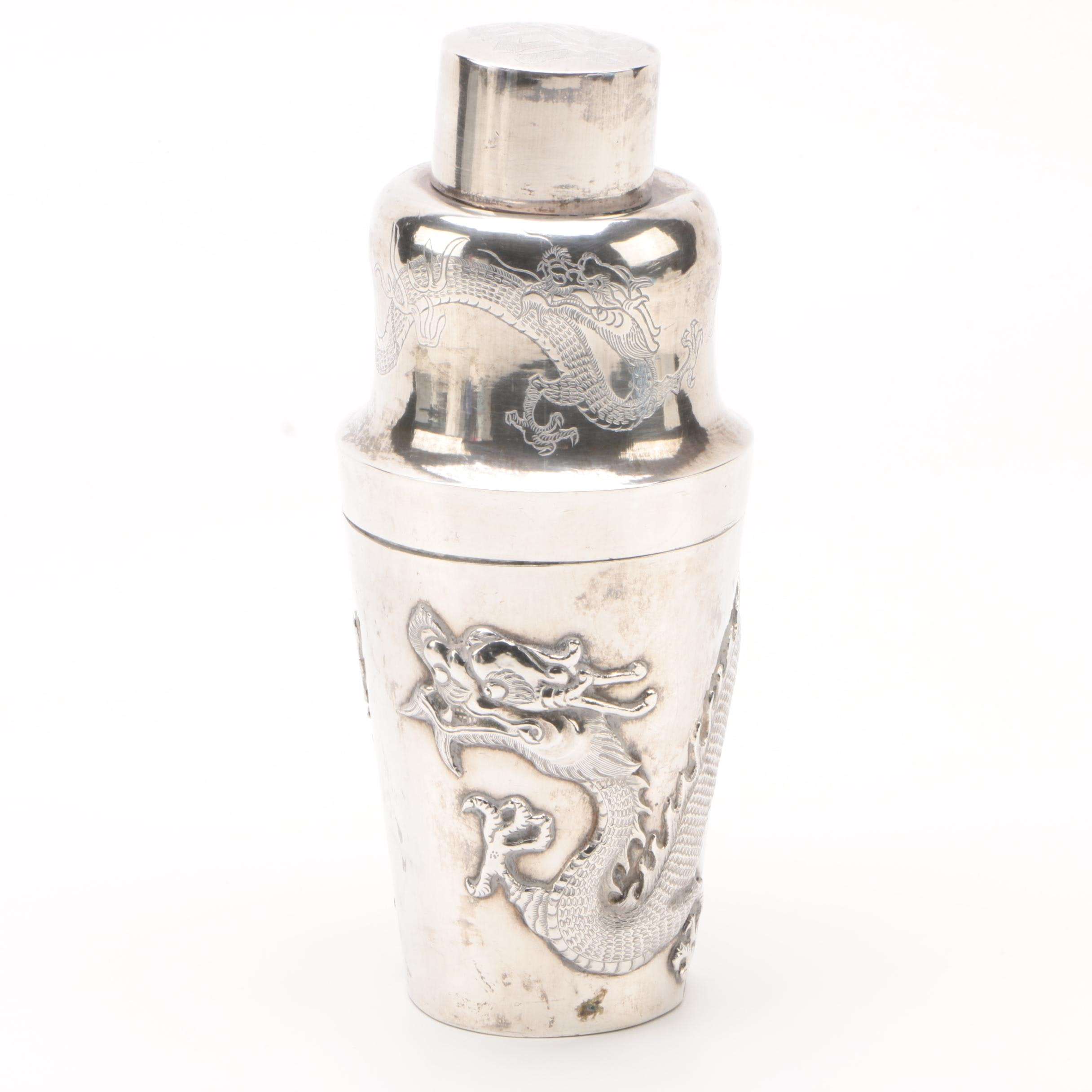Chinese Export 900 Silver Dragon Motif Cocktail Mixer, Early 20th Century