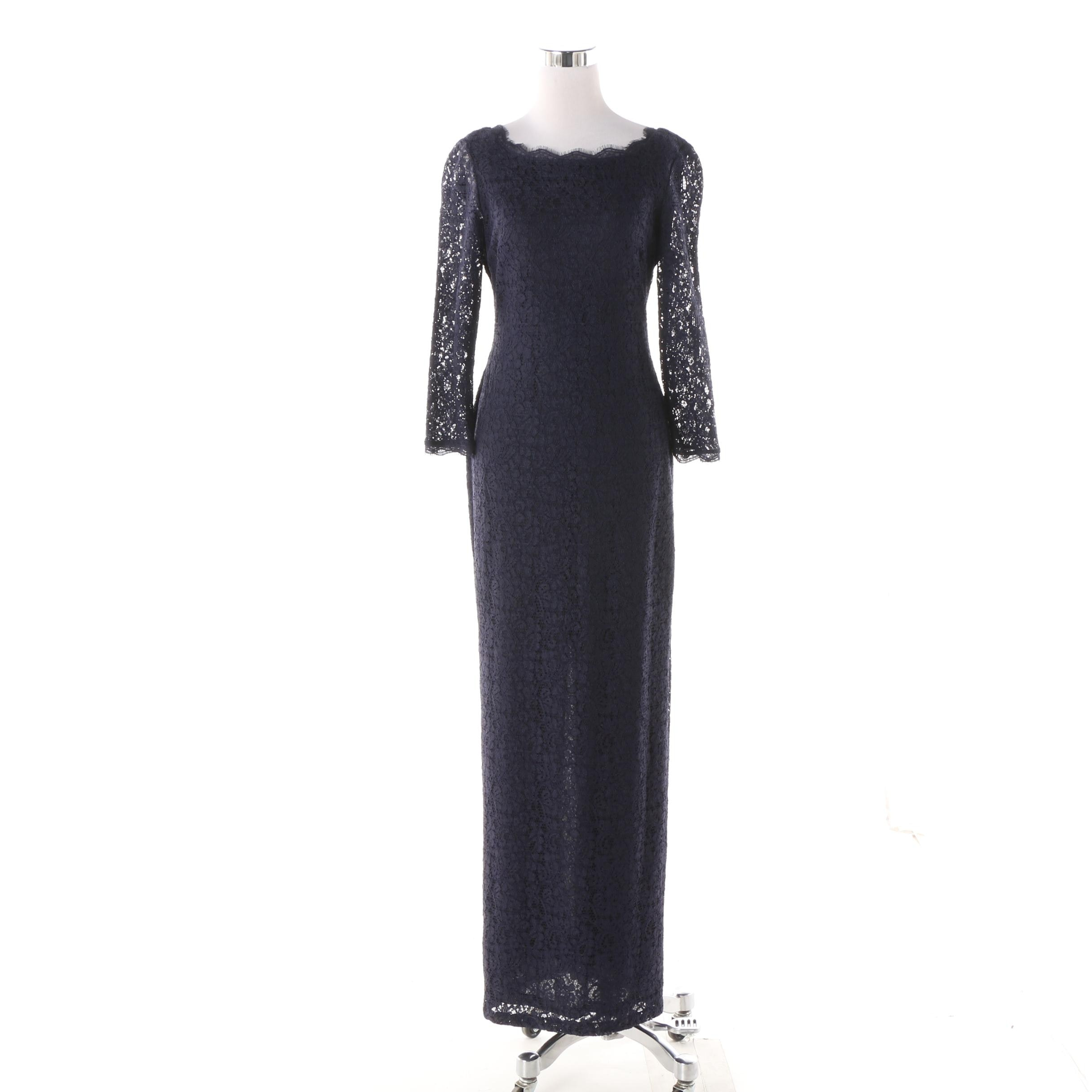 Adrianna Papell Navy Lace Gown with Back Slit
