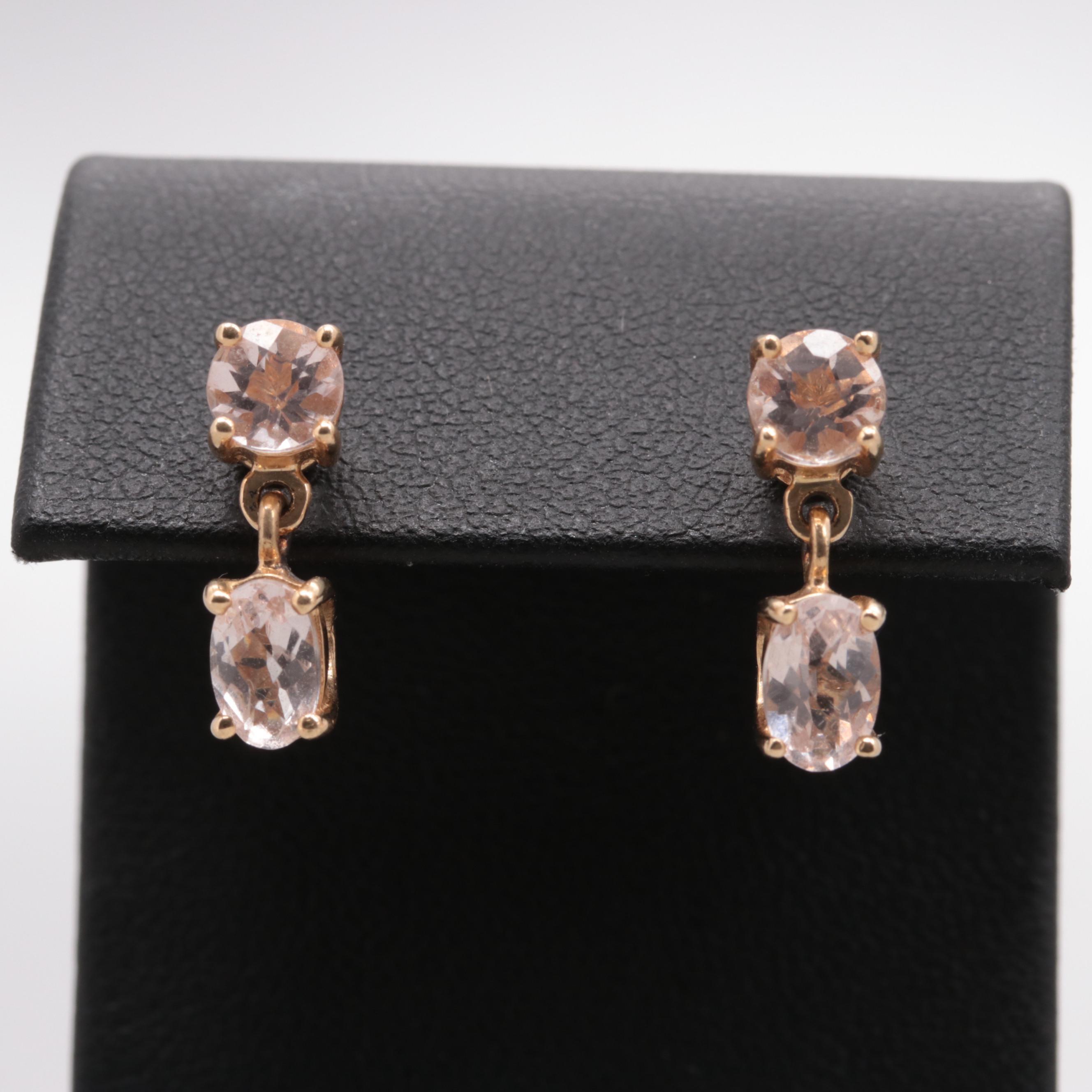 14K Yellow Gold Morganite Earrings