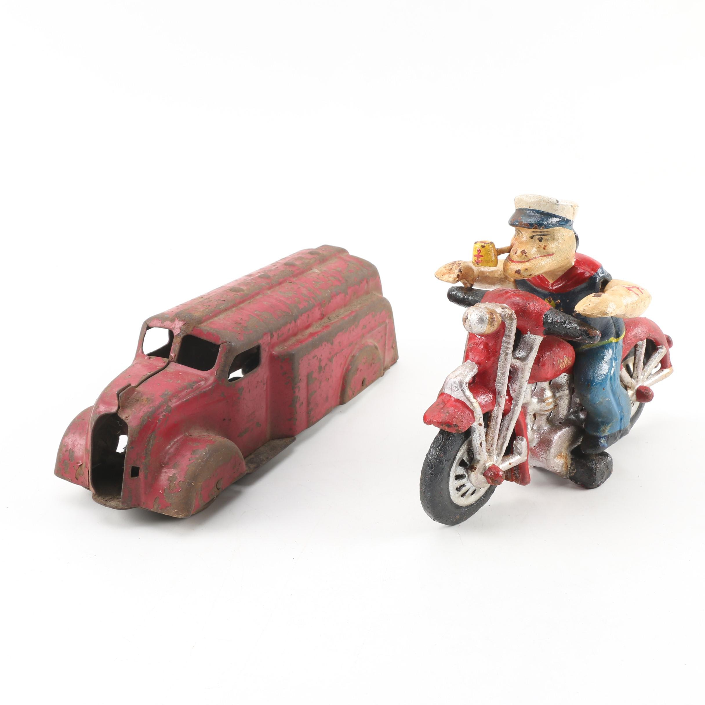 "Hubley Cast Iron ""Popeye on Patrol"" Figurine and Metal Toy Truck, circa 1930"