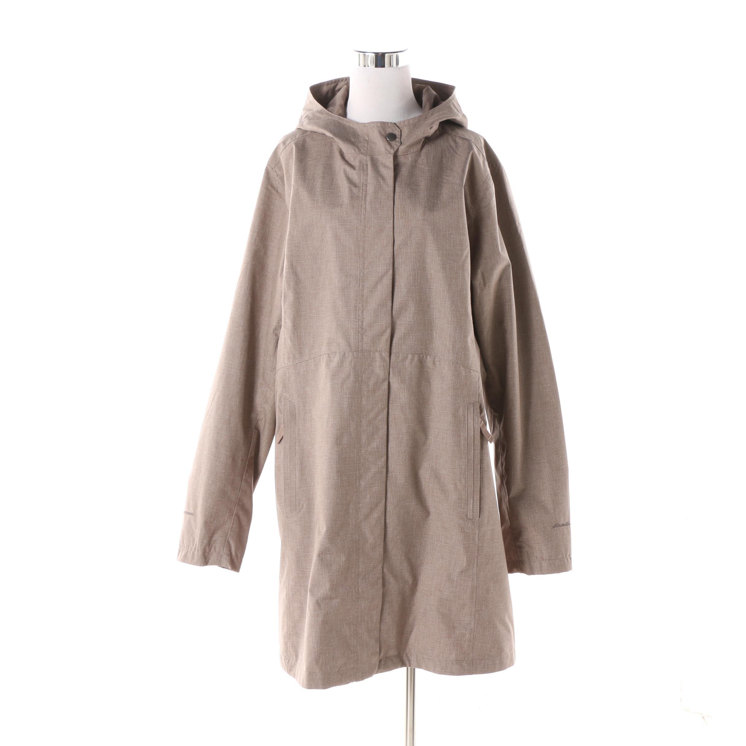 Women's Eddie Bauer WeatherEdge Brown Micro Check Hooded Rain Jacket
