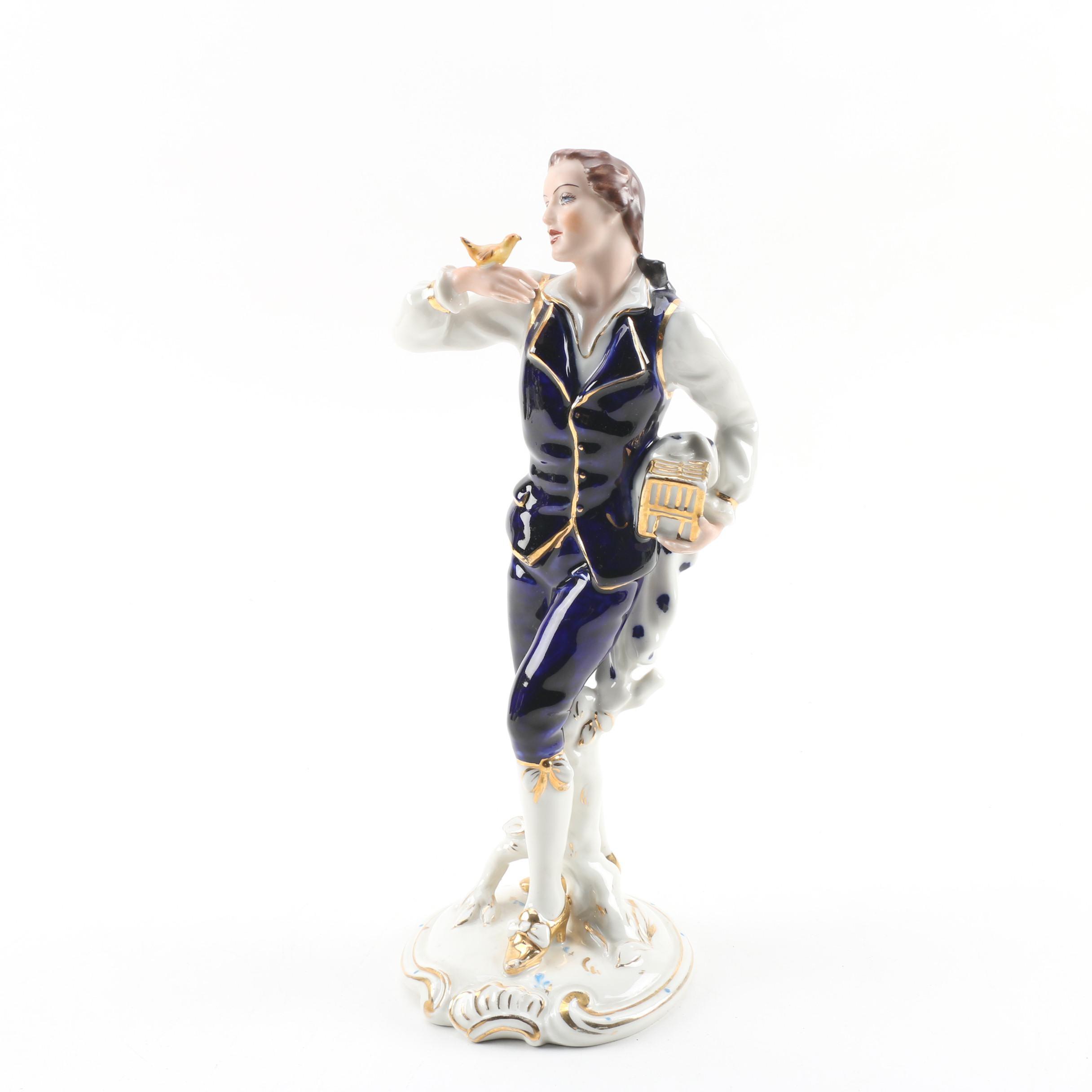 Royal Dux Porcelain Figurine of Gentleman with Bird
