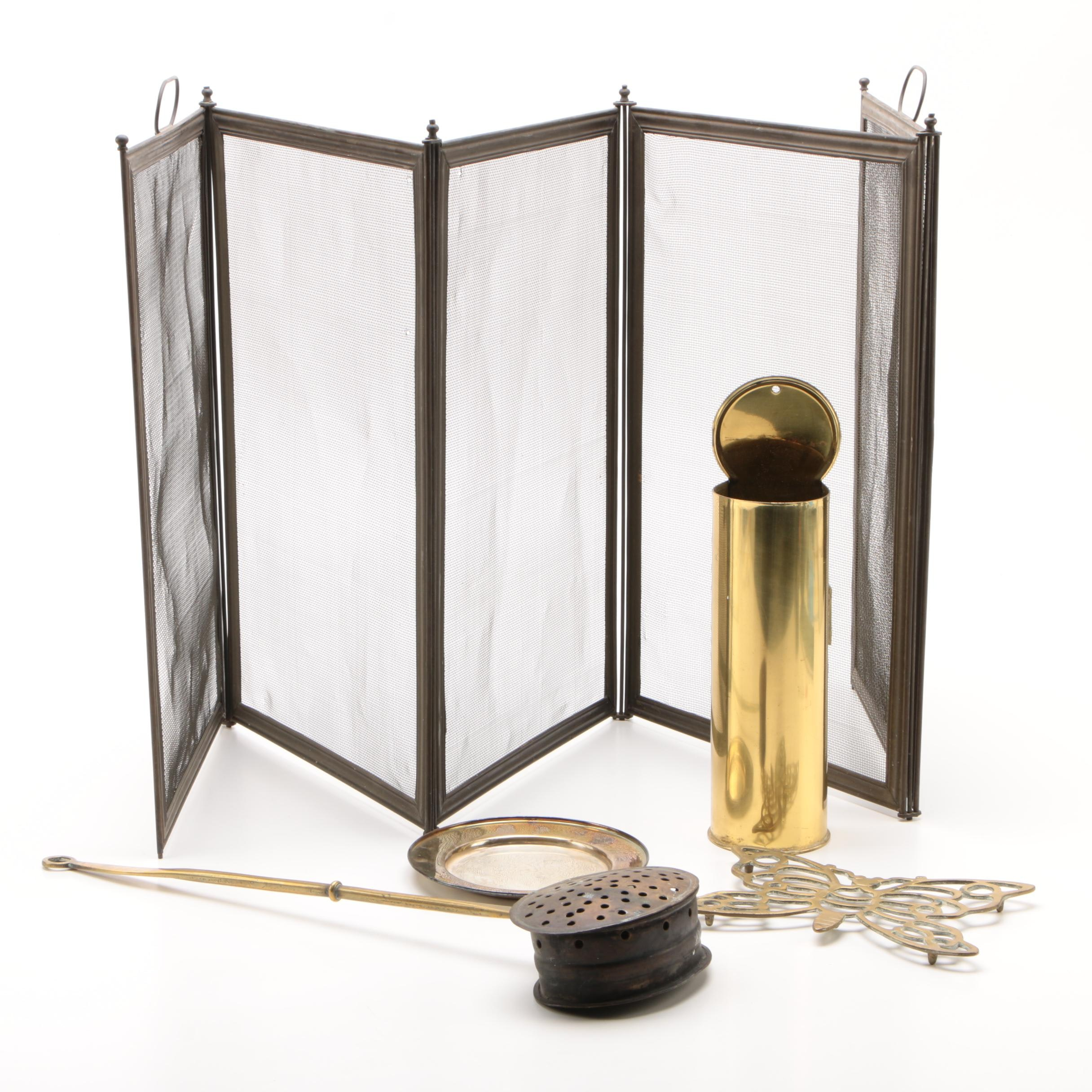 Brass and Metal Fireplace Accessories, Late 20th Century