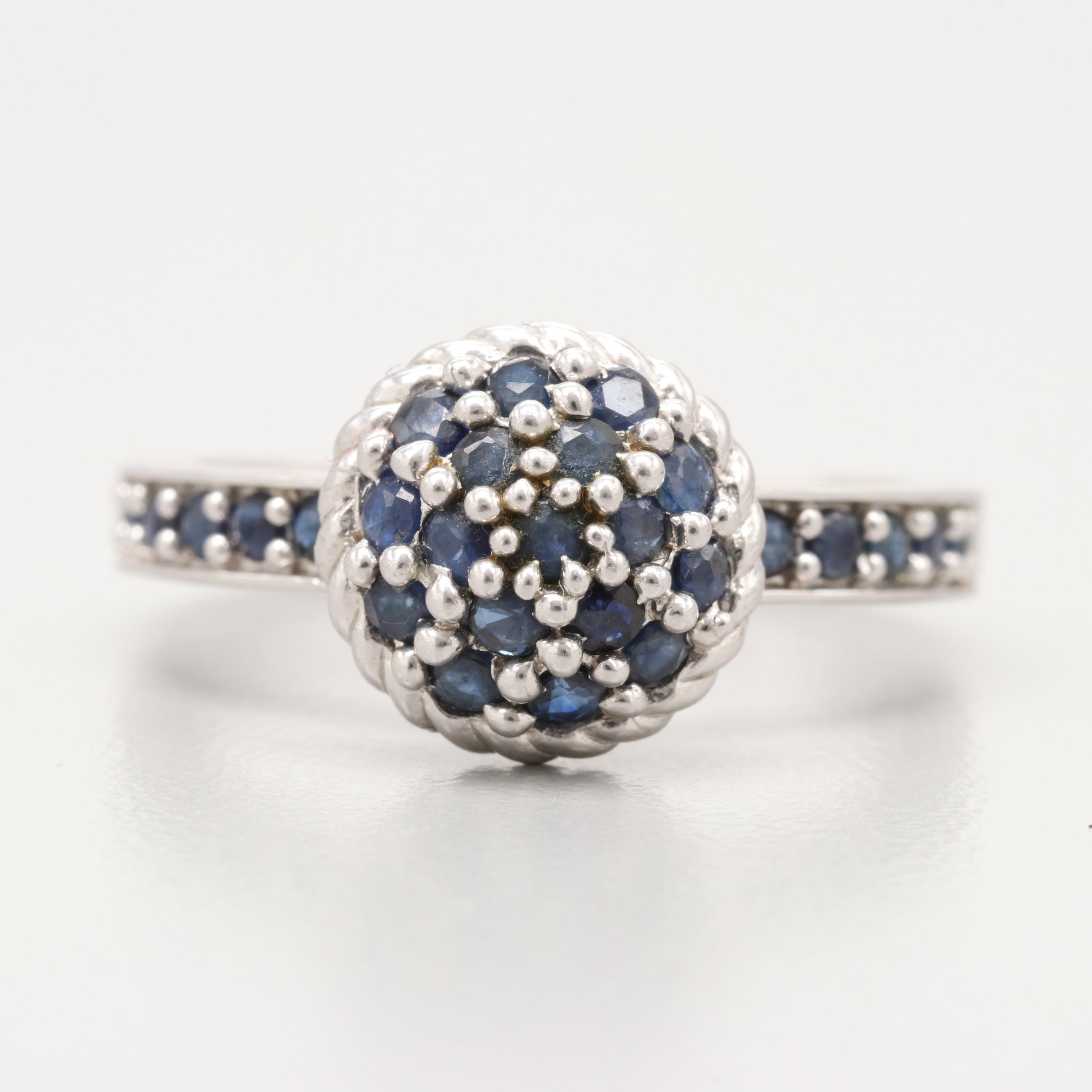 Judith Ripka Sterling Silver Blue Sapphire Ring