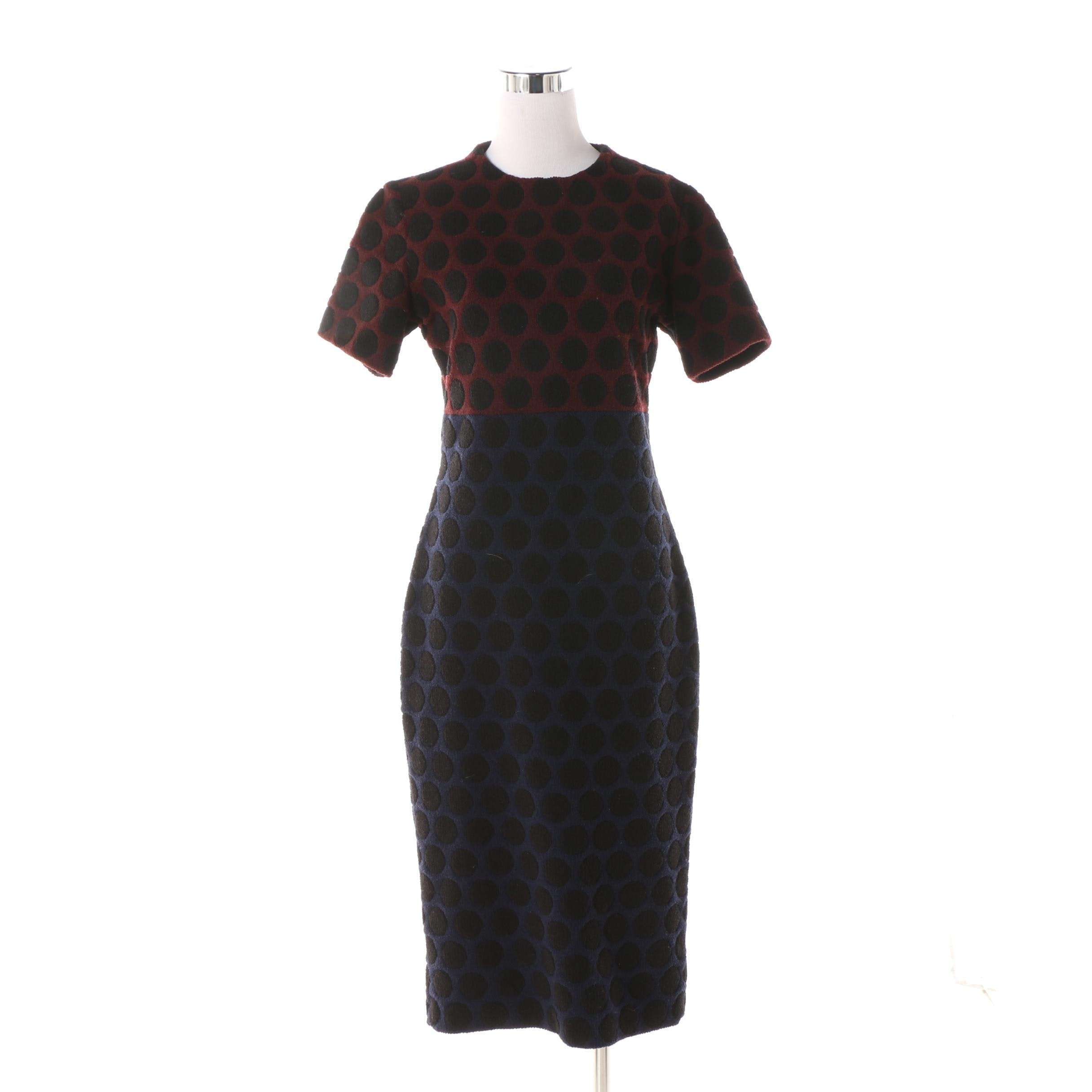 Vintage Marc Jacobs Burgundy and Navy Polka Dot Wool Blend Sheath Dress