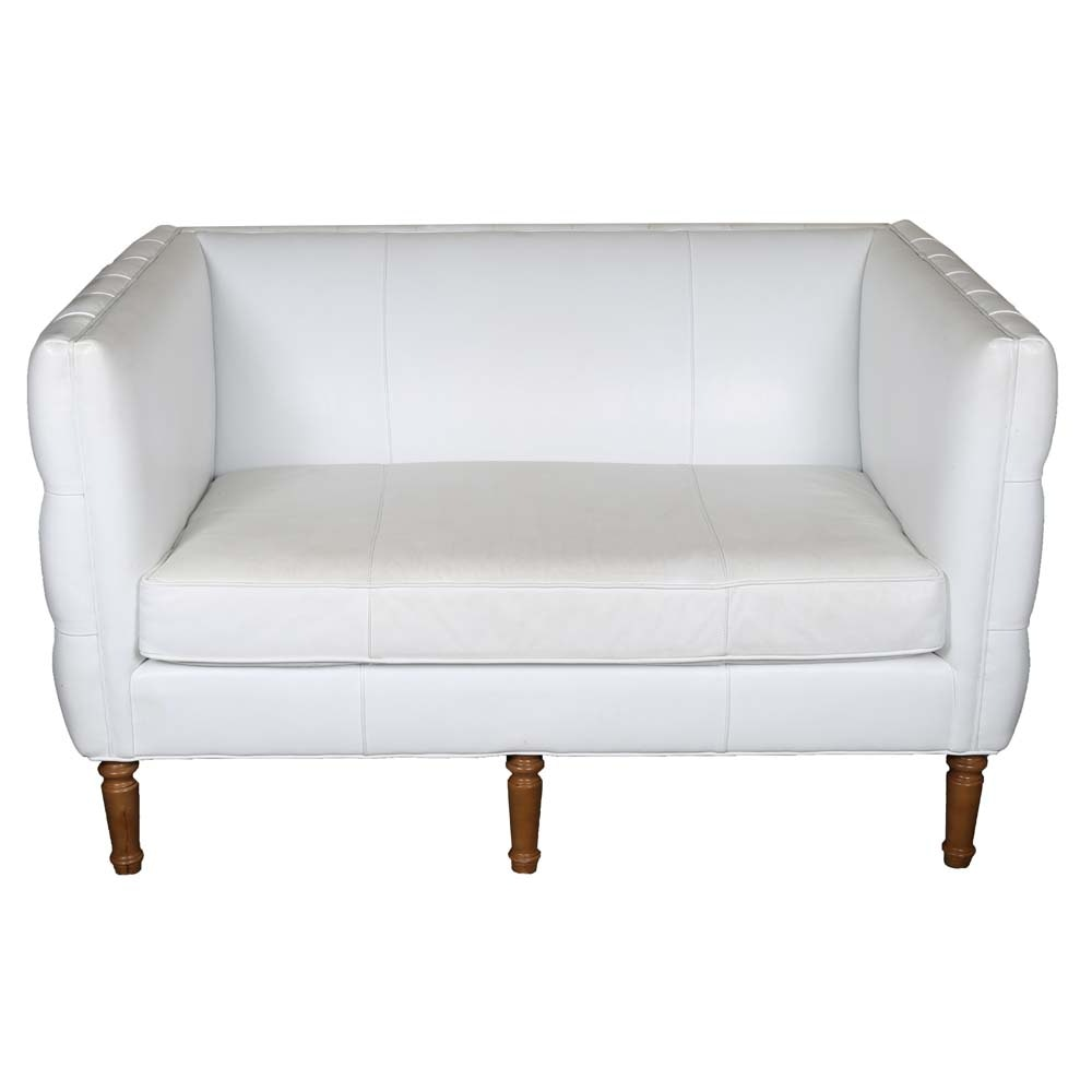 Contemporary White Leather Tufted Loveseat by Mitchell Gold + Bob Williams
