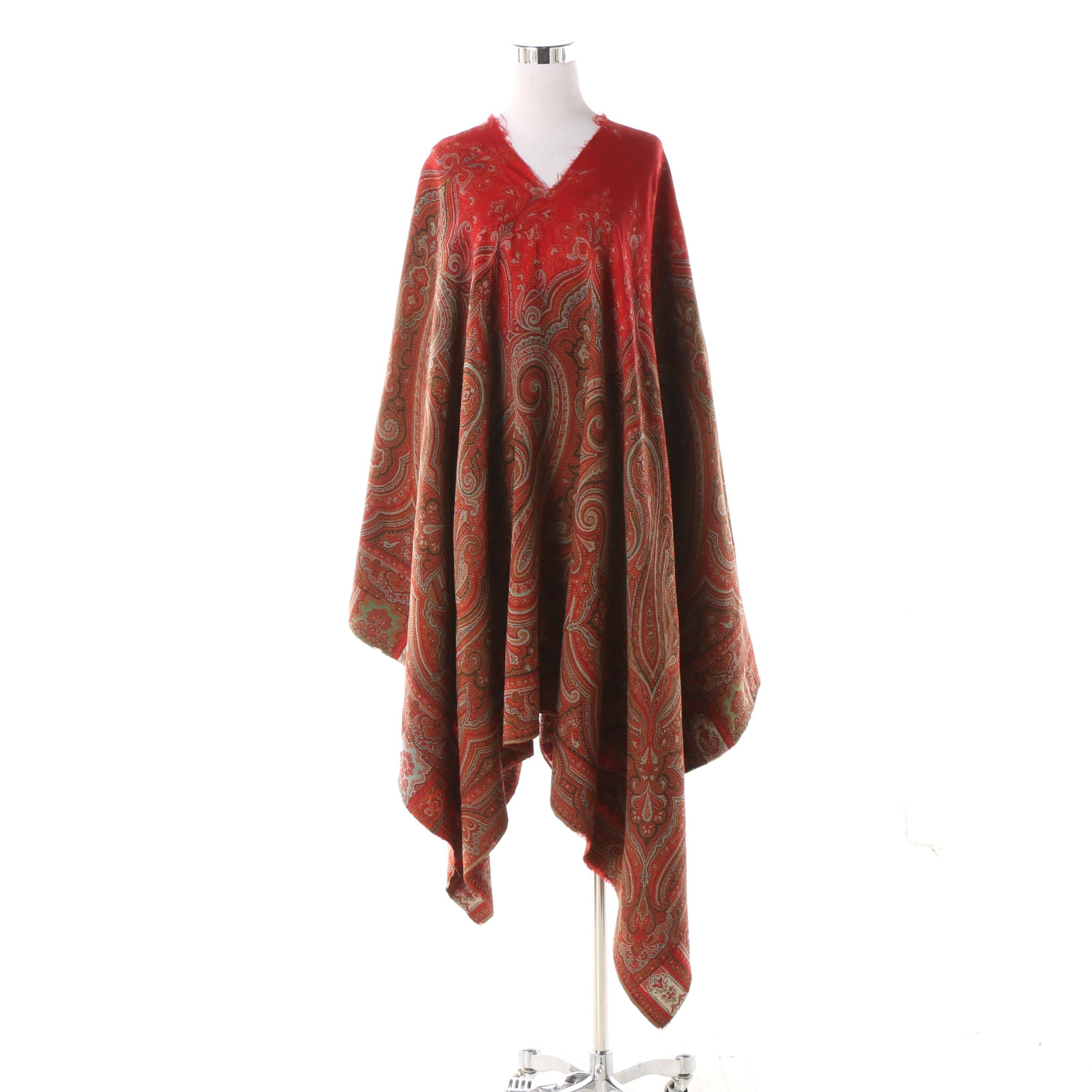 Woven Paisley Shawl with Poncho Style Alterations