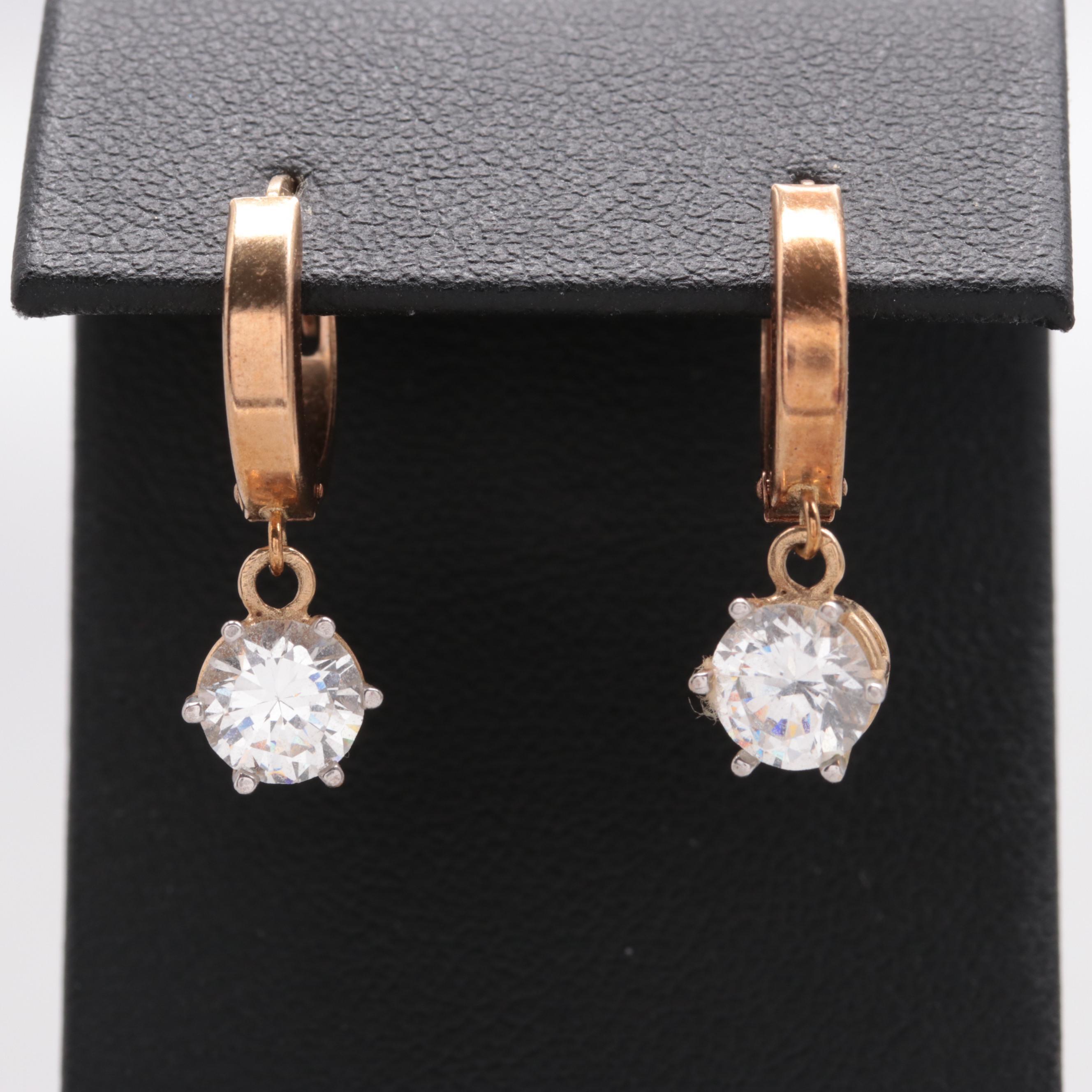 10K Yellow Gold Cubic Zirconia Earrings