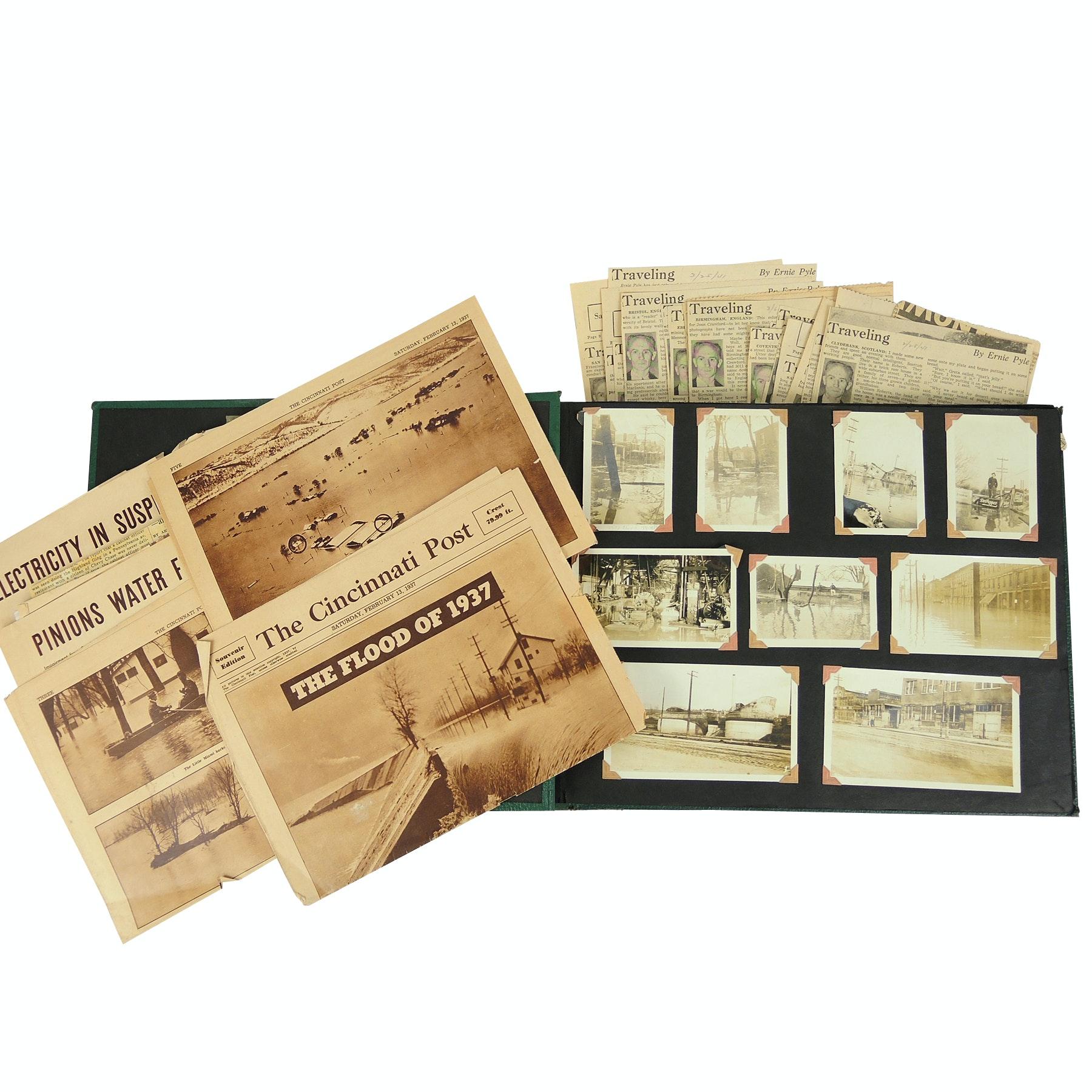 1937 Cincinnati Flood Ephemera and Ernie Pyle News Paper Clippings