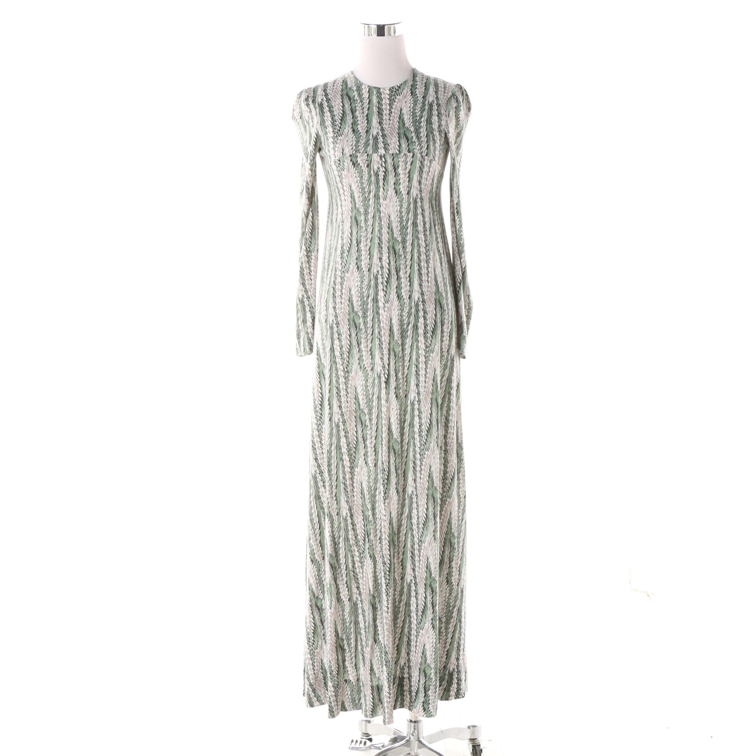 1970s Vintage Diane von Furstenberg Italian Jersey Feather Print Maxi Dress