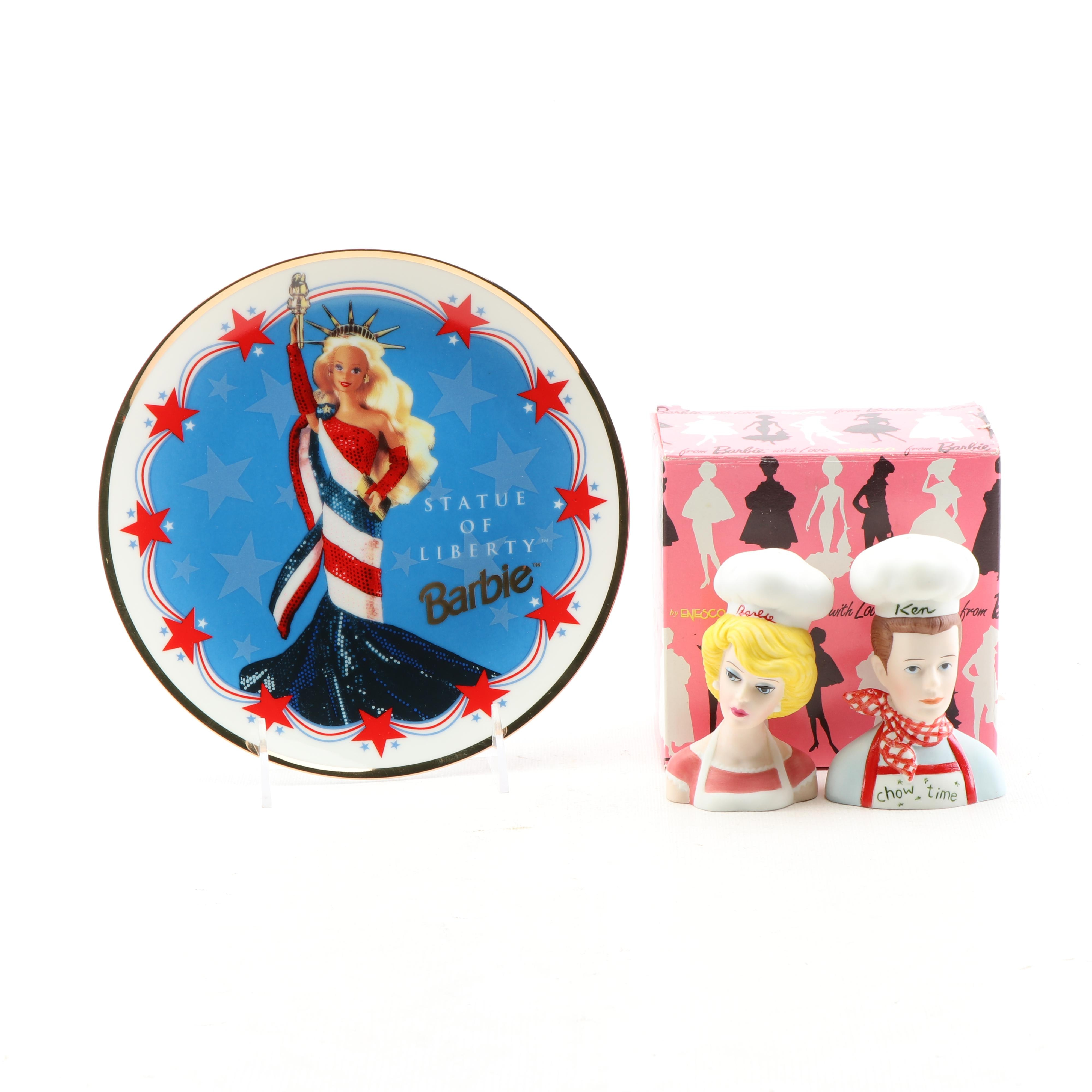 """""""Statue of Liberty Barbie"""" with Barbie and Ken Salt and Pepper Set"""