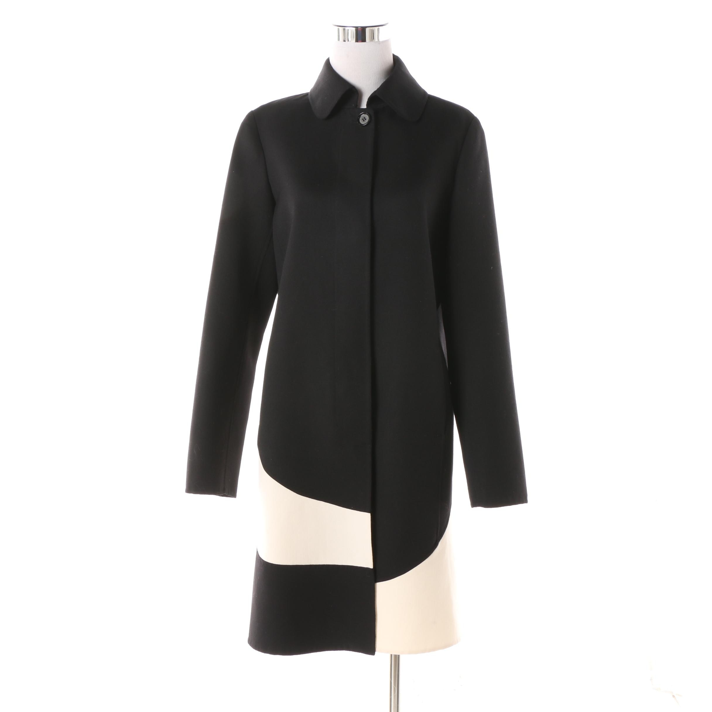 Per Se Black and Off White-Accented Wool Coat