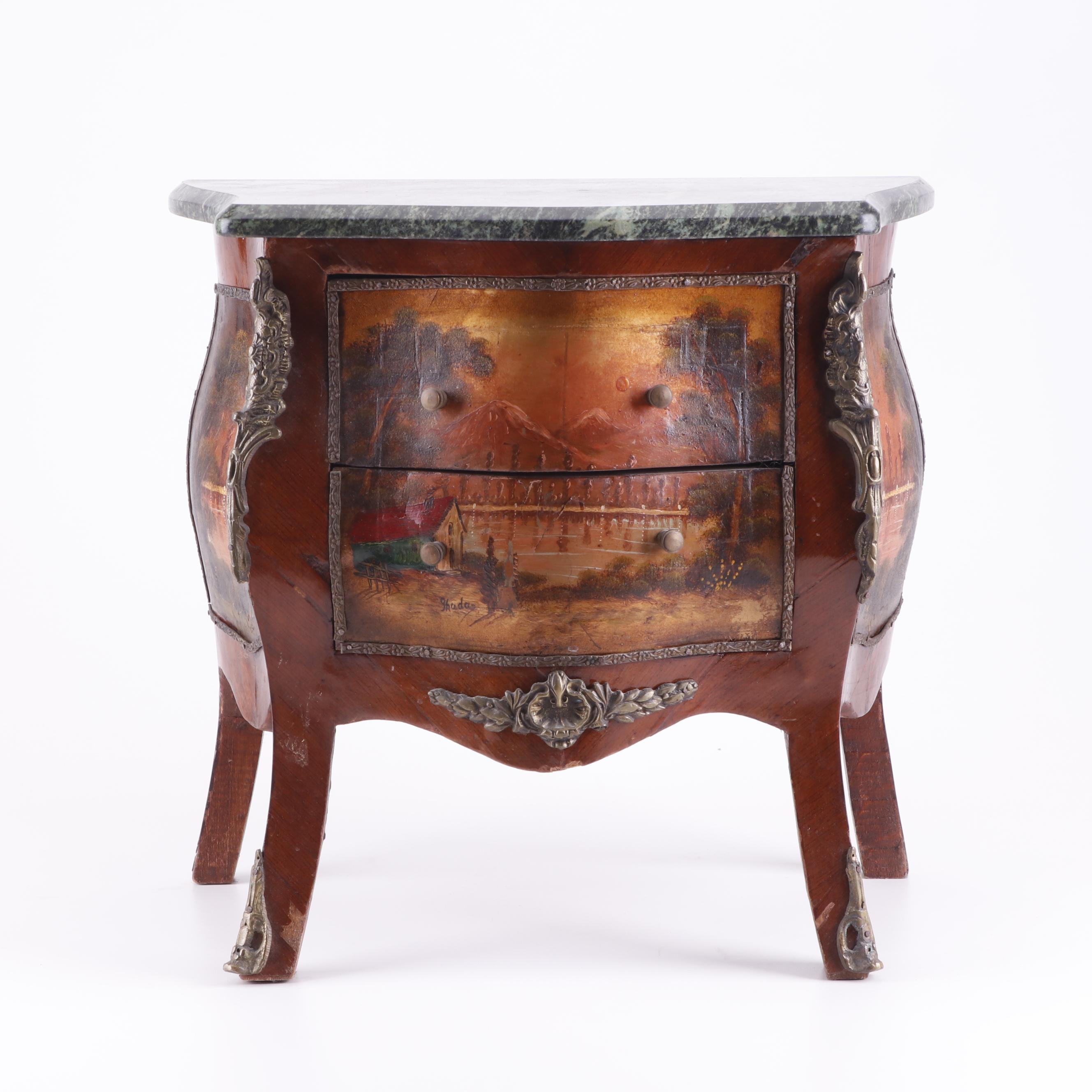 Louis XV Style Painted Wood and Marble Bombe Chest, Mid 20th Century
