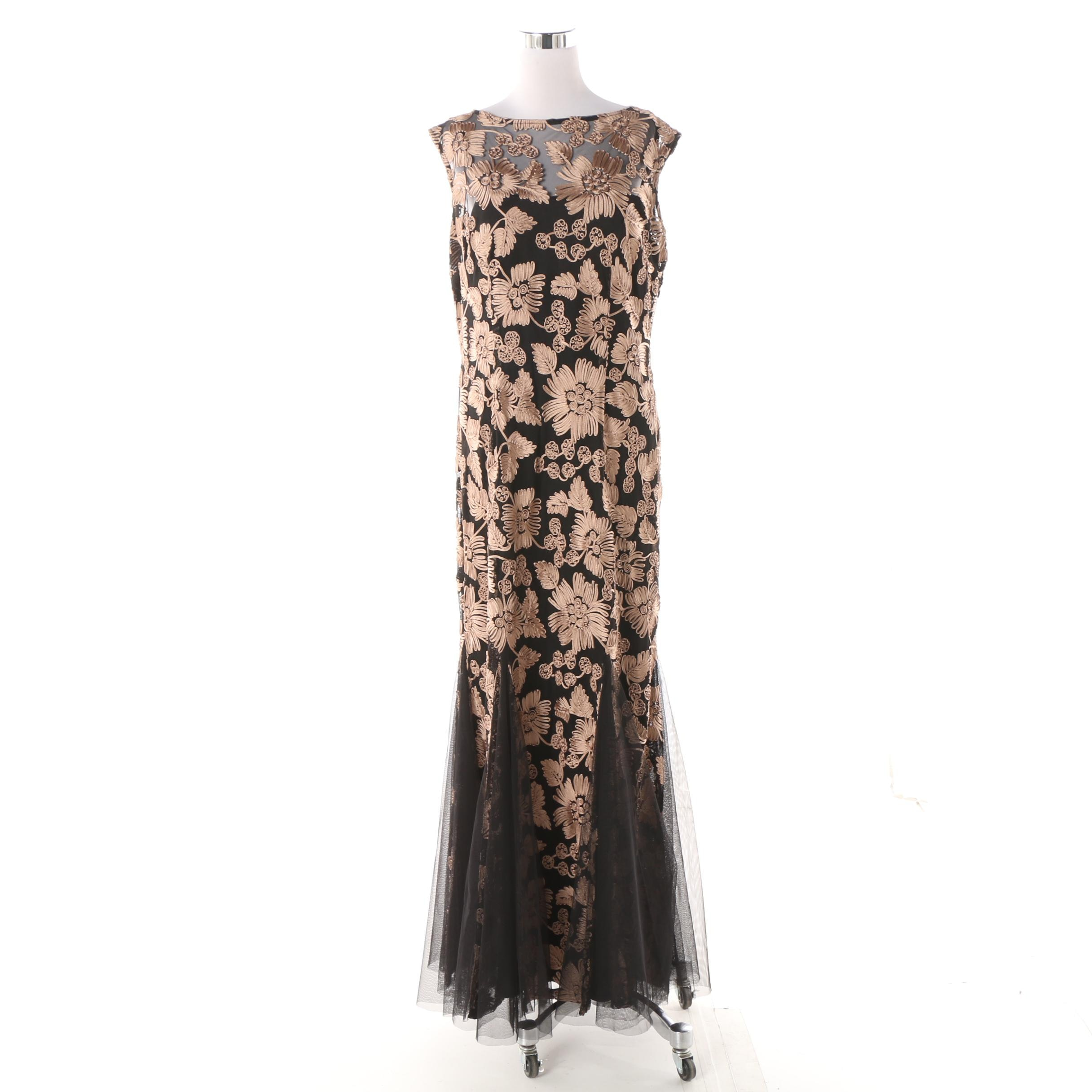 Alex Evenings Black Sleeveless Evening Dress with Tan Floral Soutache