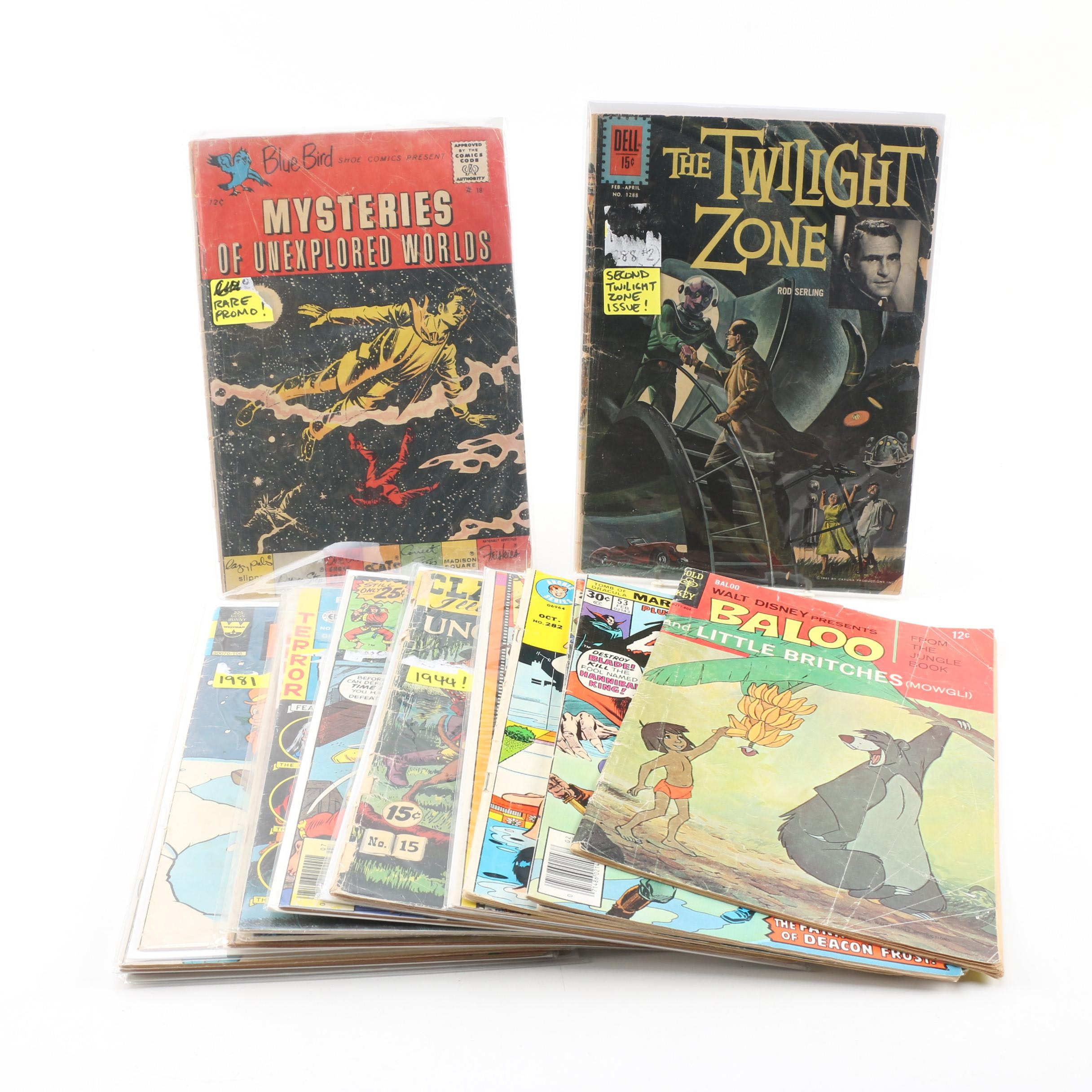 "Comic Books including ""The Twilight Zone"" and ""The Avengers"""