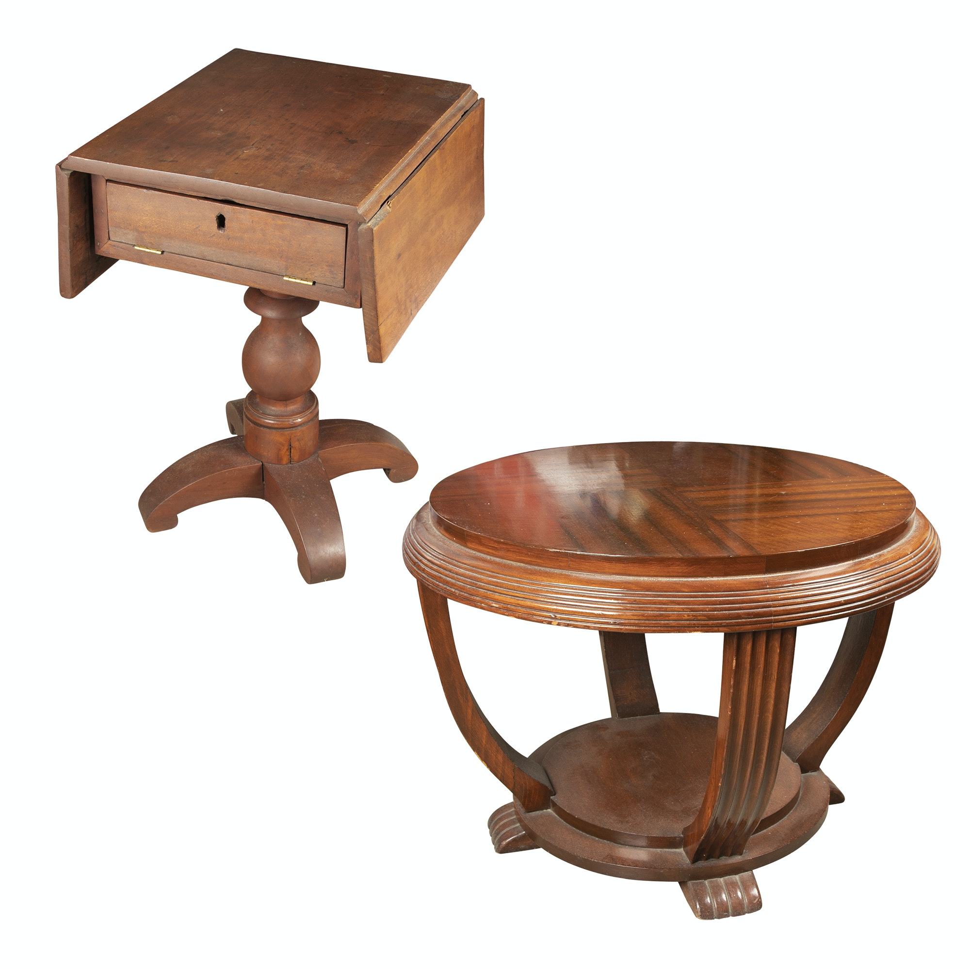 American Empire Style Drop Leaf Side Table and Circular Side Table, 20th C.