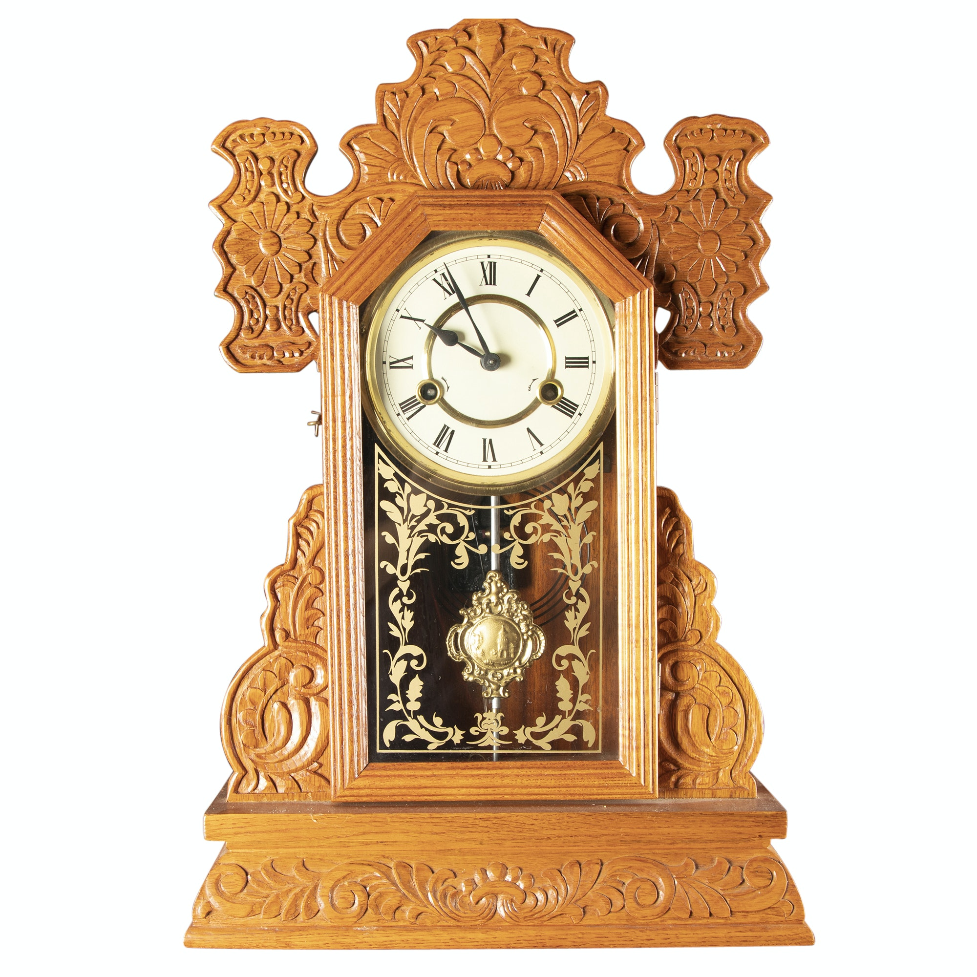 Victorian Style Carved Oak Mantel Clock
