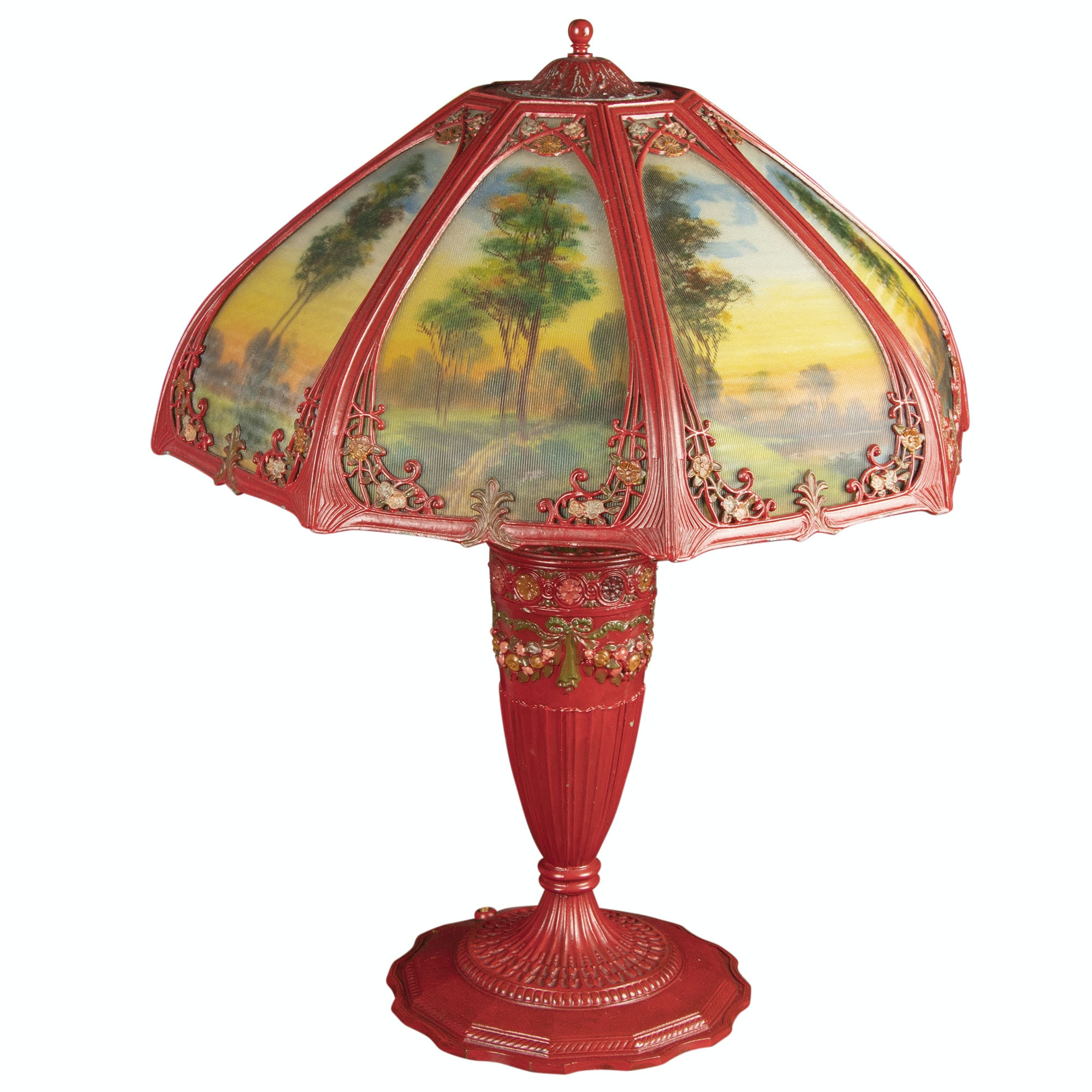 Early 20th Century Reverse Painted Cast Metal Table Lamp