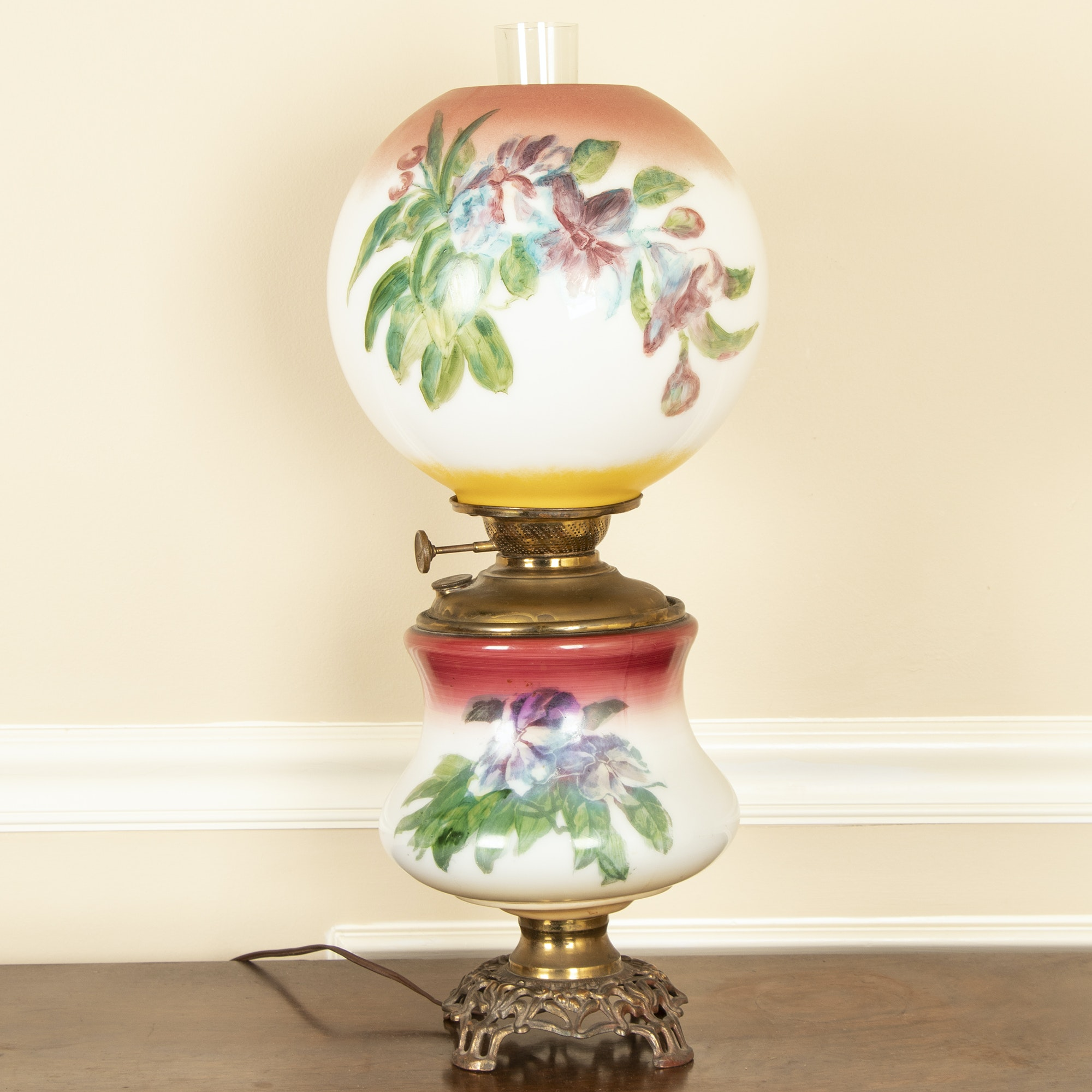 Converted Hand-Painted Parlor Lamp, Early 20th Century