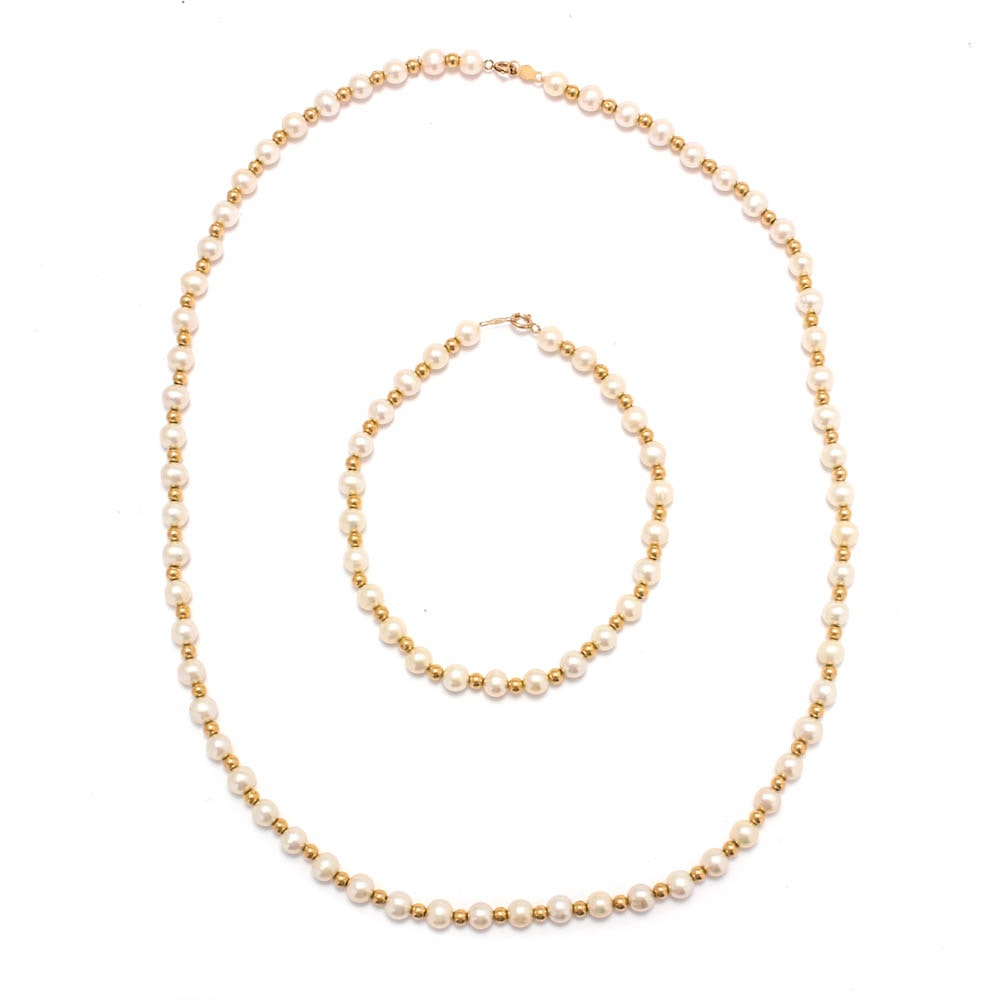 14K Yellow Gold Cultured Pearl Necklace and Bracelet