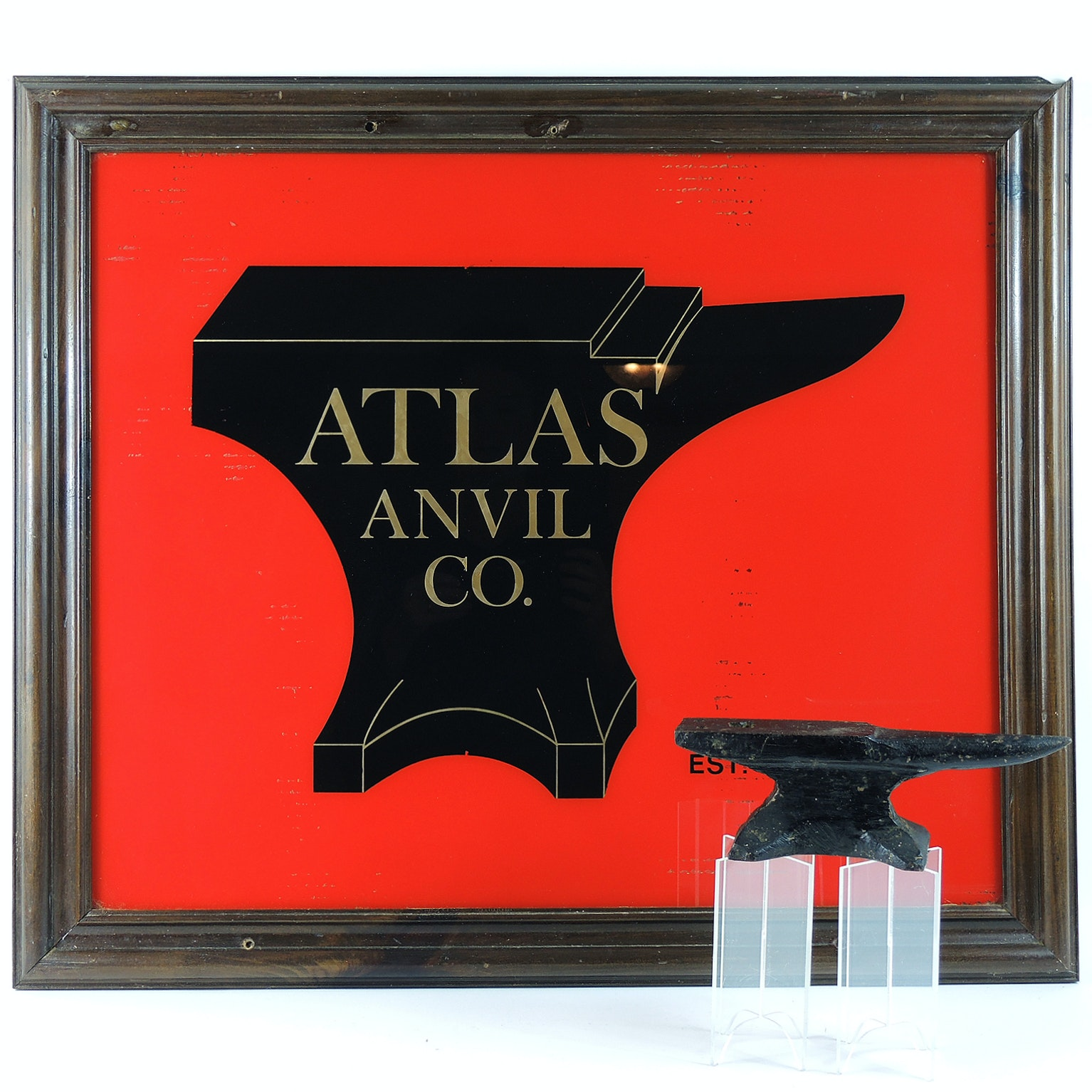 Atlas Anvil Company Glass Advertising Sign and Jewelers Anvil