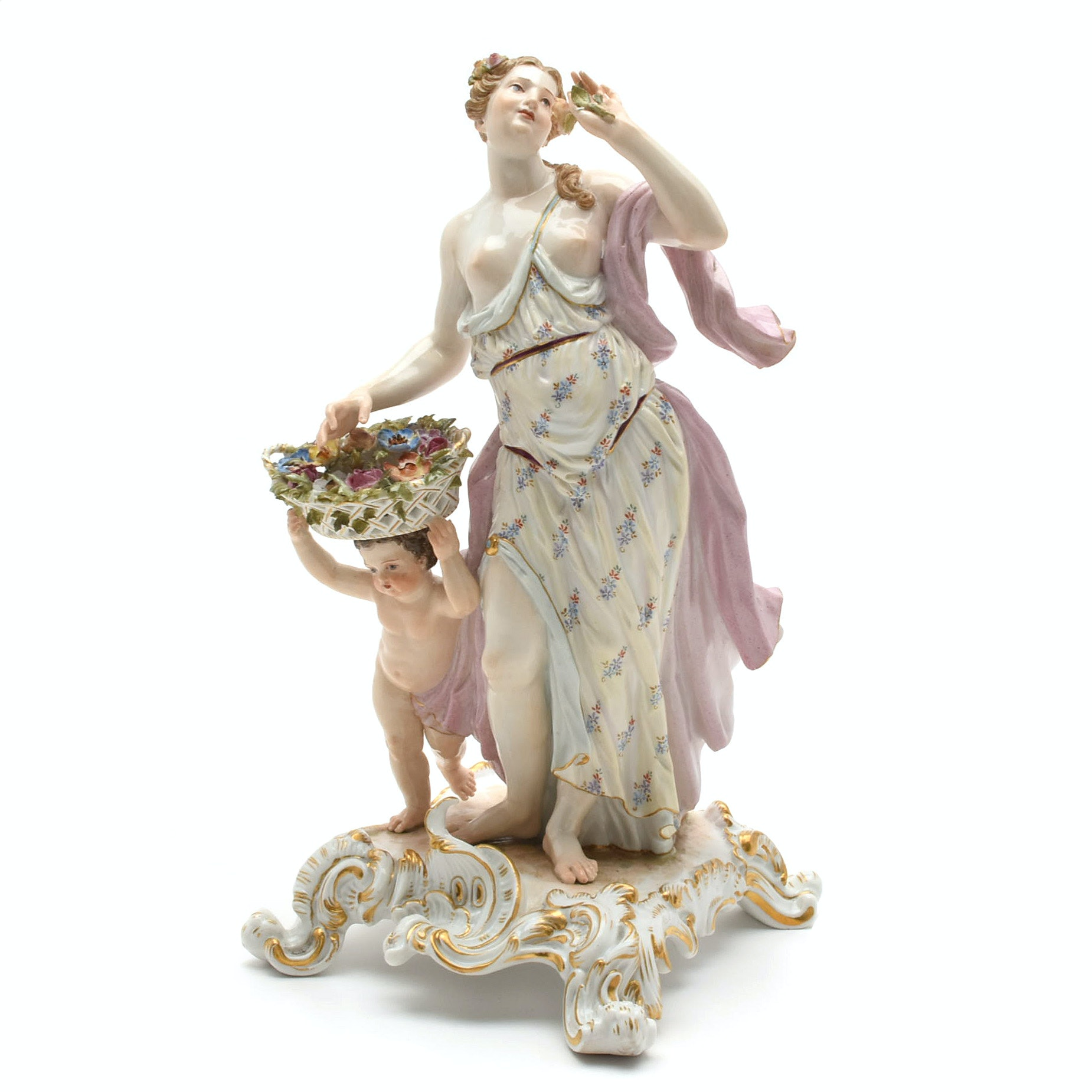 """19th Century Meissen Porcelain Tableau, """"Flora, Cupid and the Allegory of Scent"""""""