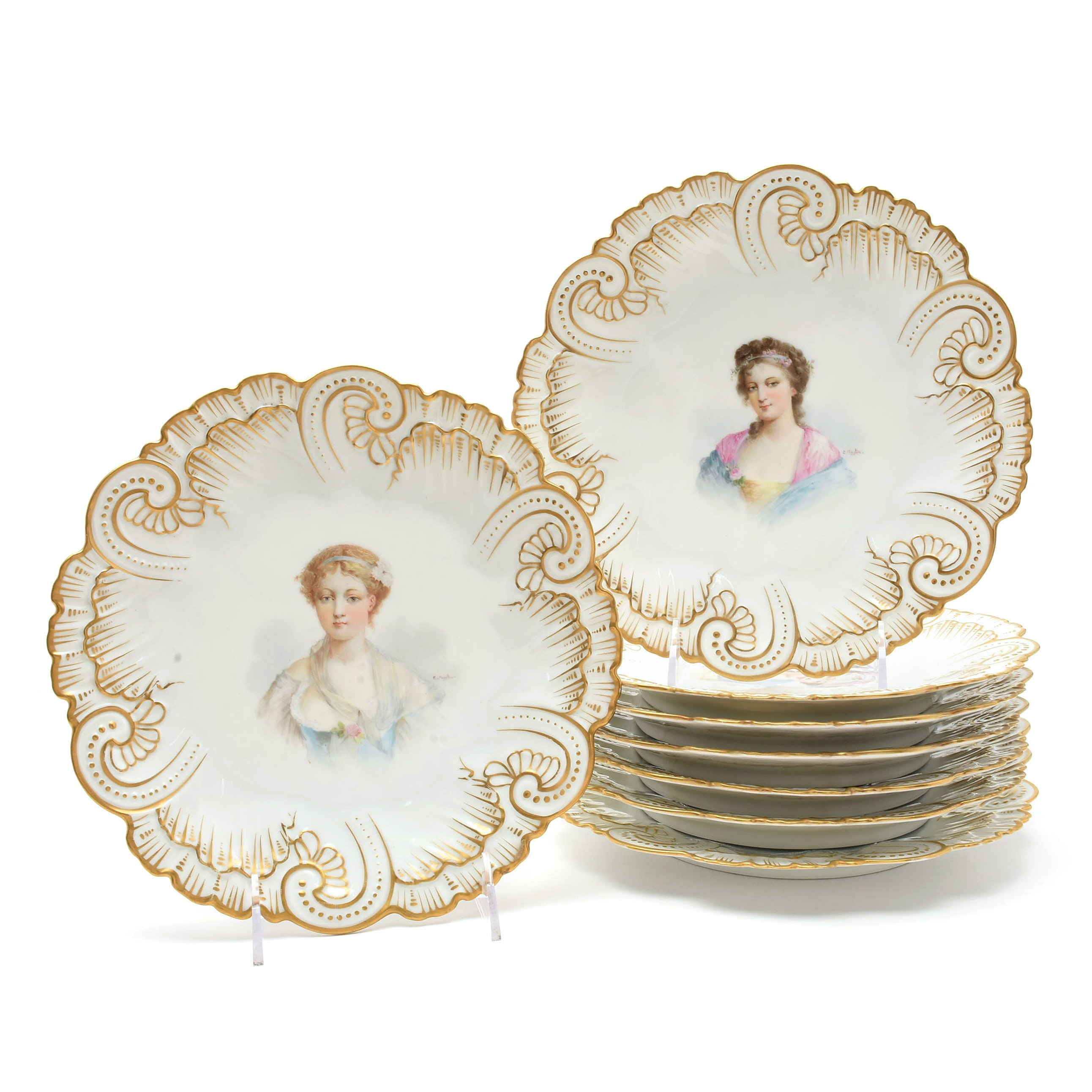 Sevres Style Porcelain Cabinet Plates by Claire Maglin, 19/20th Century