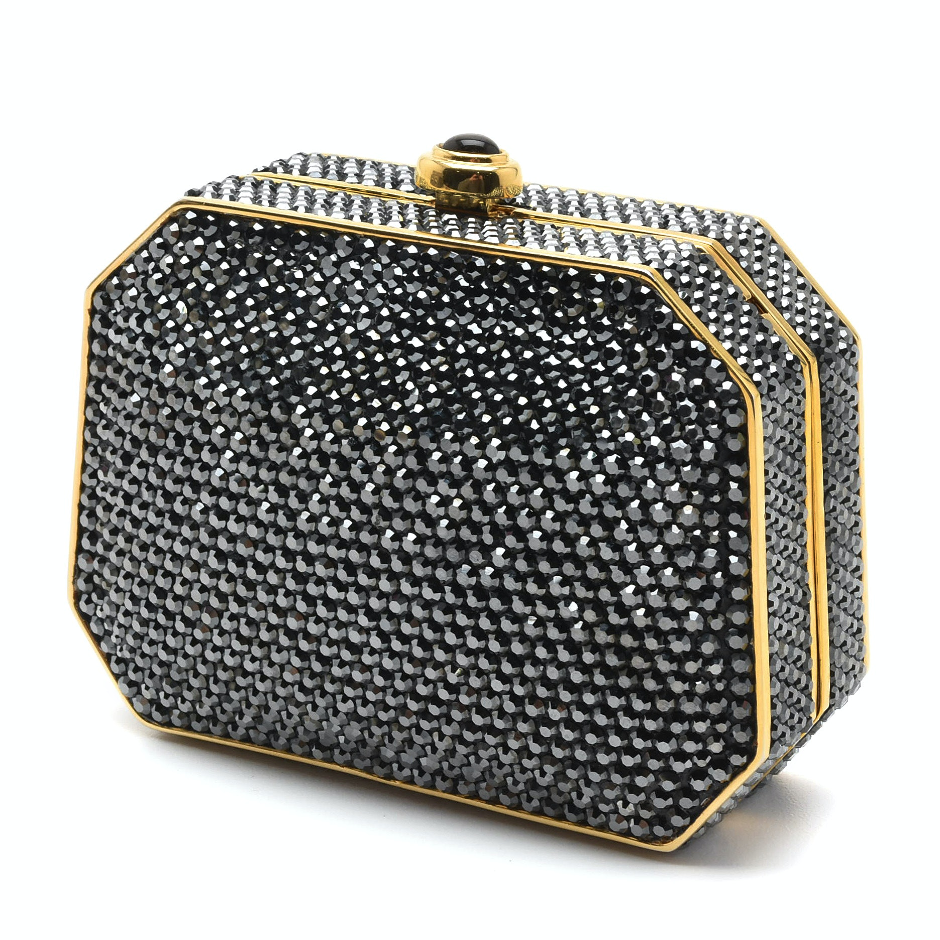Judith Leiber Black Swarovski Crystal Minaudière Evening Bag with Accoutrements