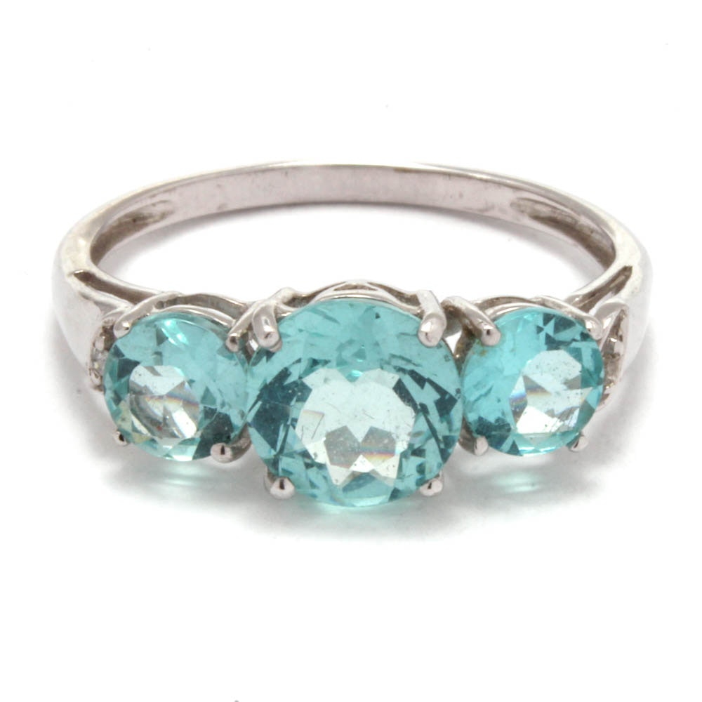 10K White Gold Apatite and Diamond Ring