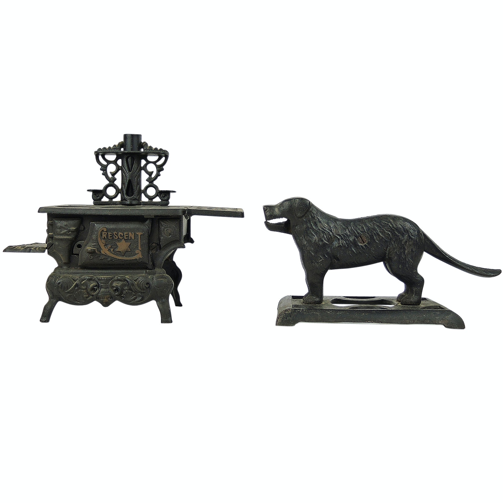 Cast Iron Dog Nut Cracker and Crescent Salesman Sample Stove