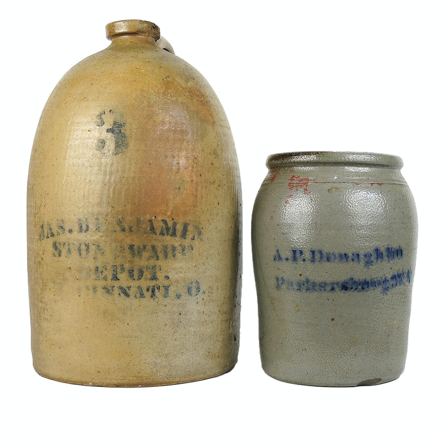 A.P. Donaghho and JAS. Benjamin of Cincinnati Stoneware, 19th Century