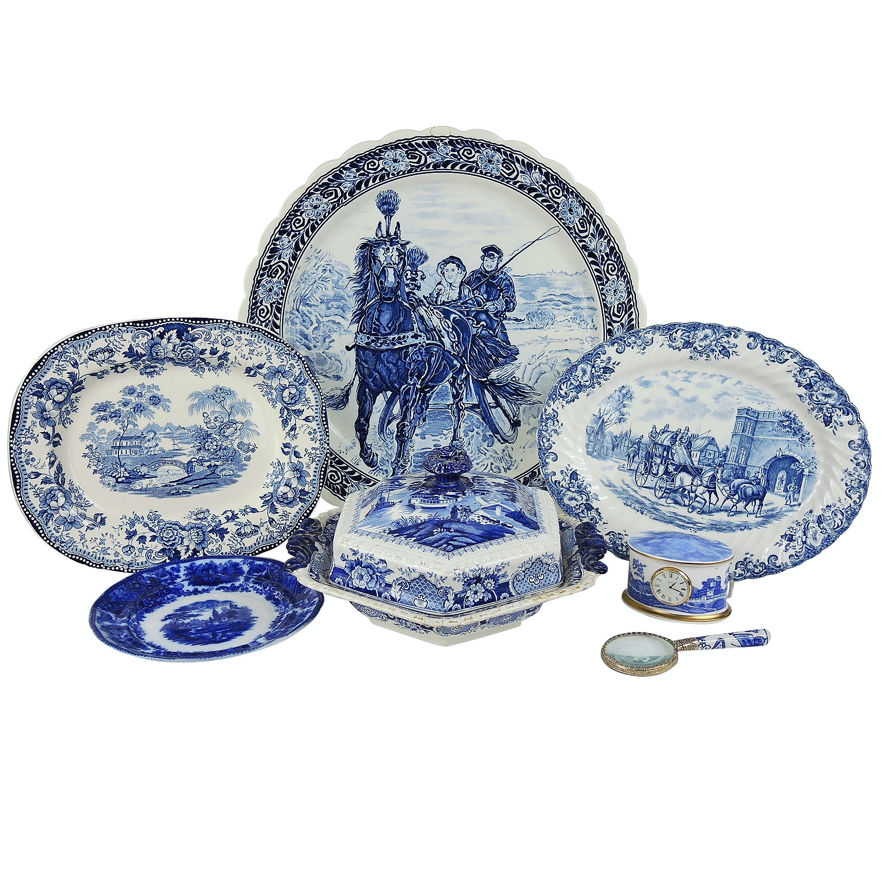 English Blue and White Dinnerware Including Johnson Bros and Middleport Pottery