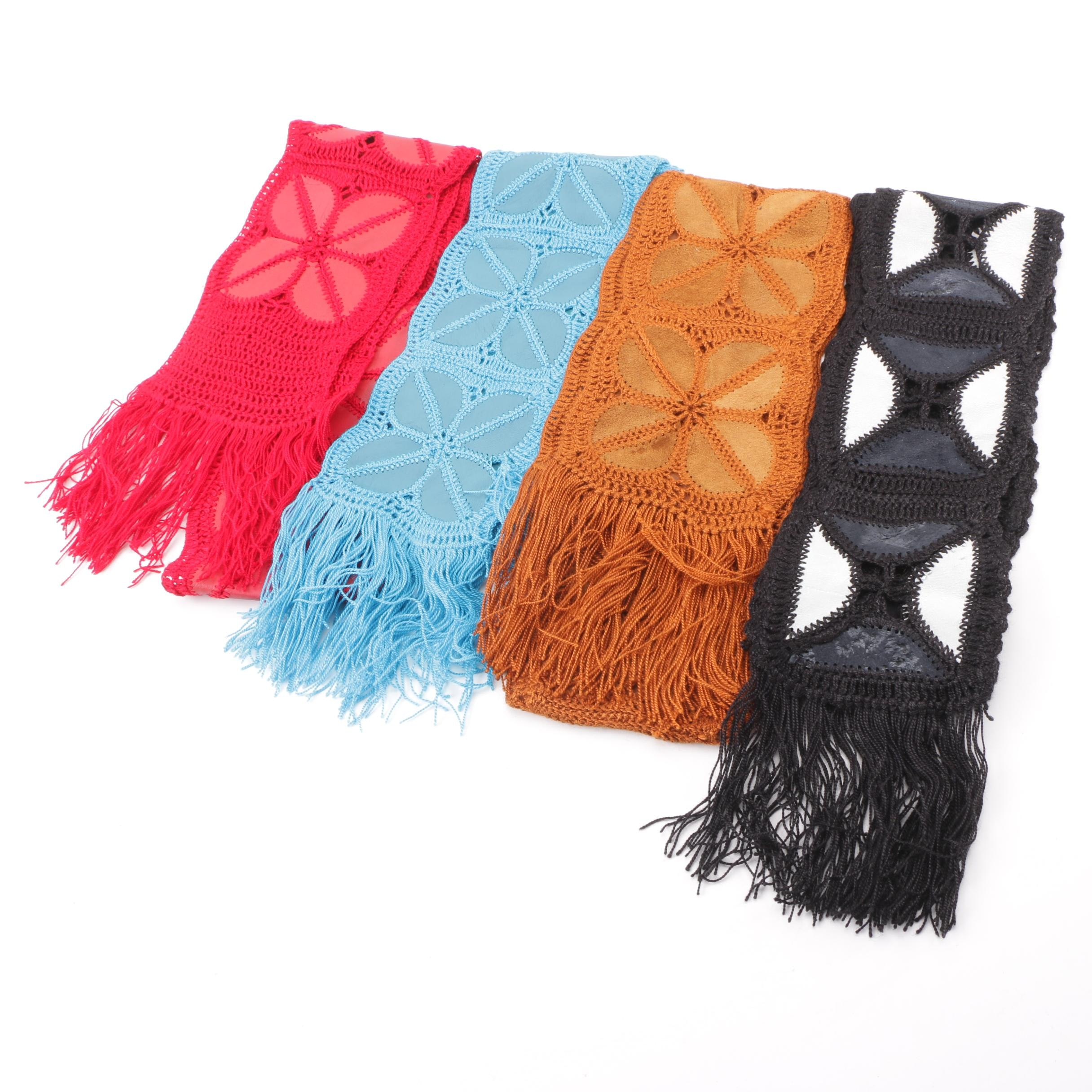 1970s Vintage Knit Scarves with Suede Accents