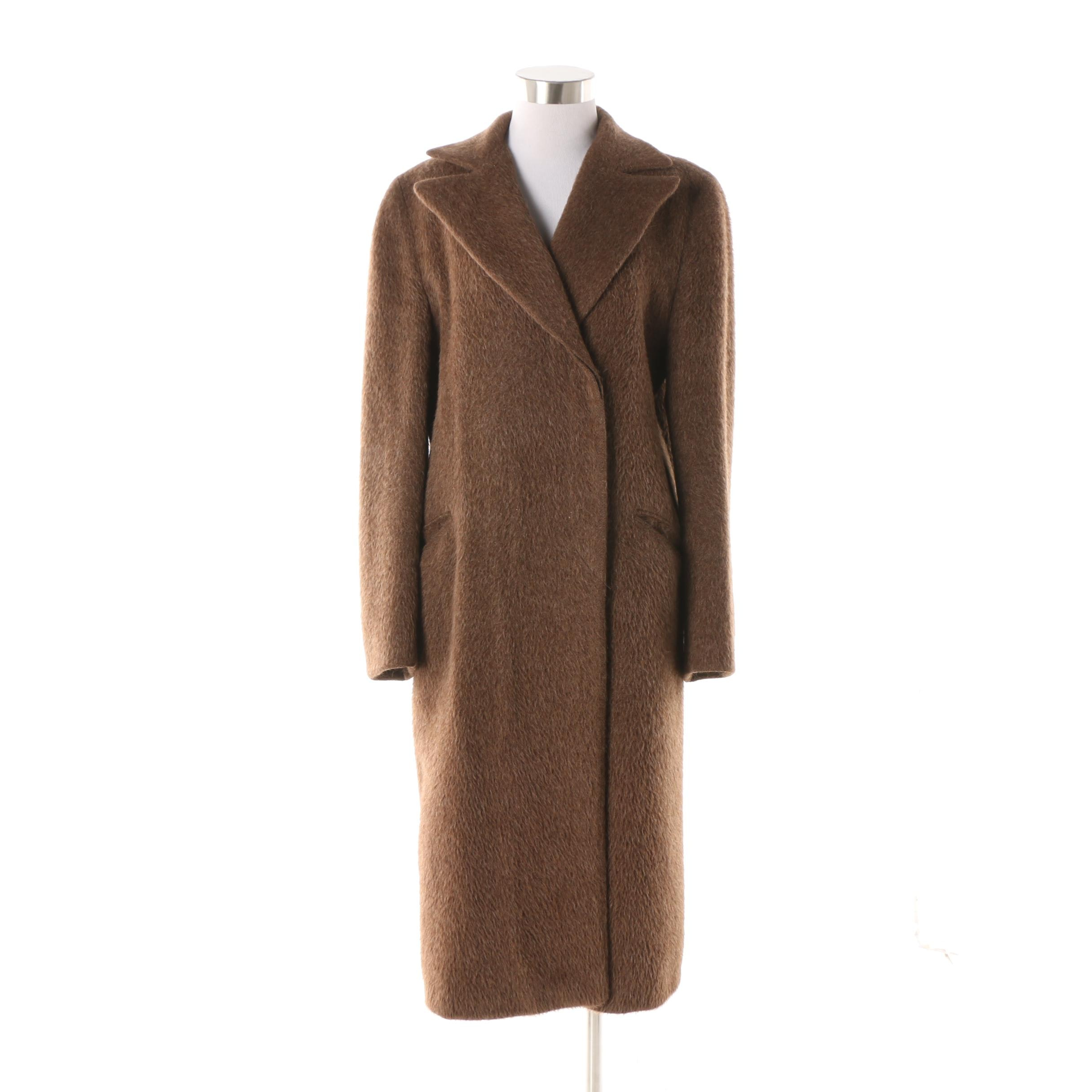 Women's Patrick Robinson Brown Alpaca Fur and Wool Coat