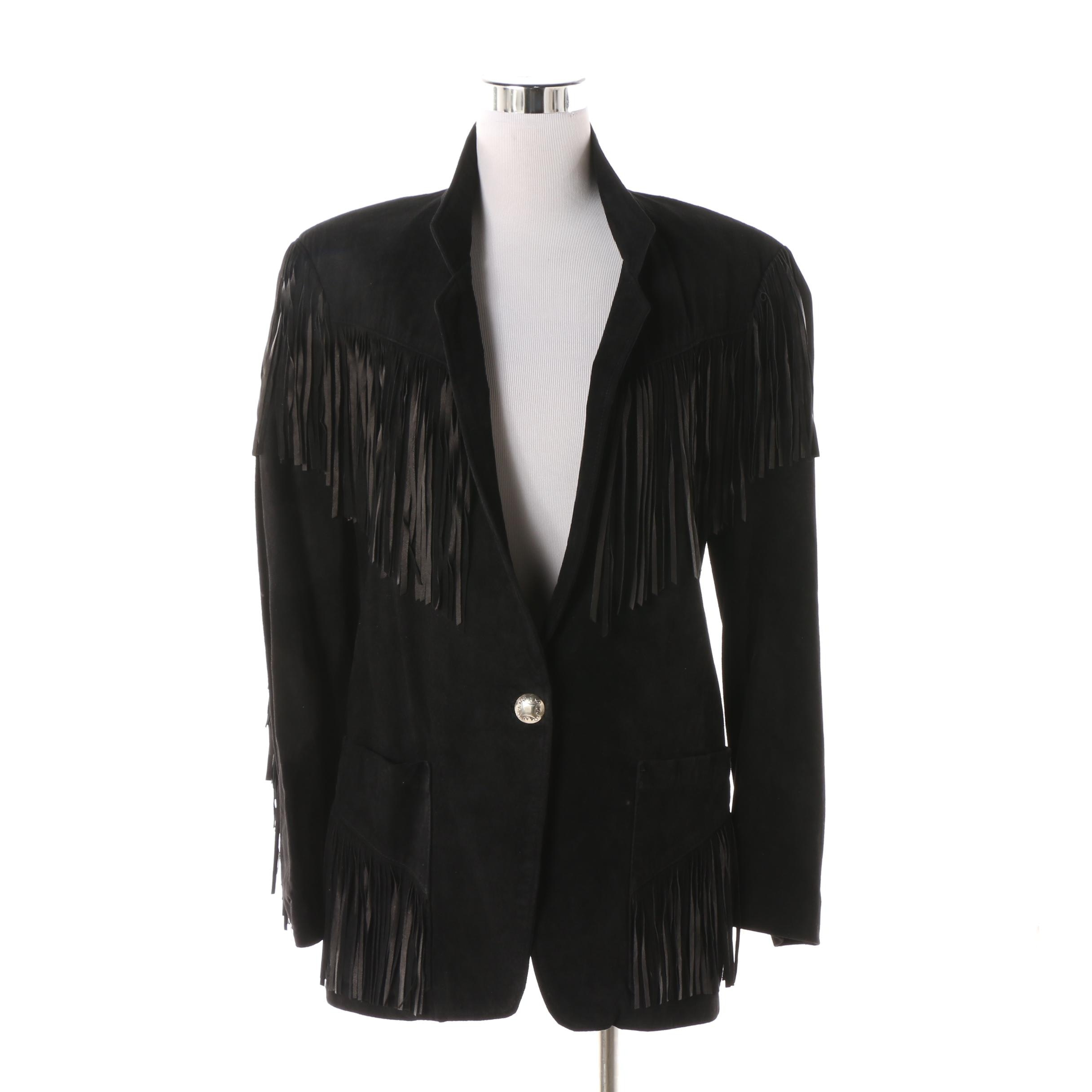 Women's Patricia Wolfe Black Suede Fringed Jacket, Made in Texas