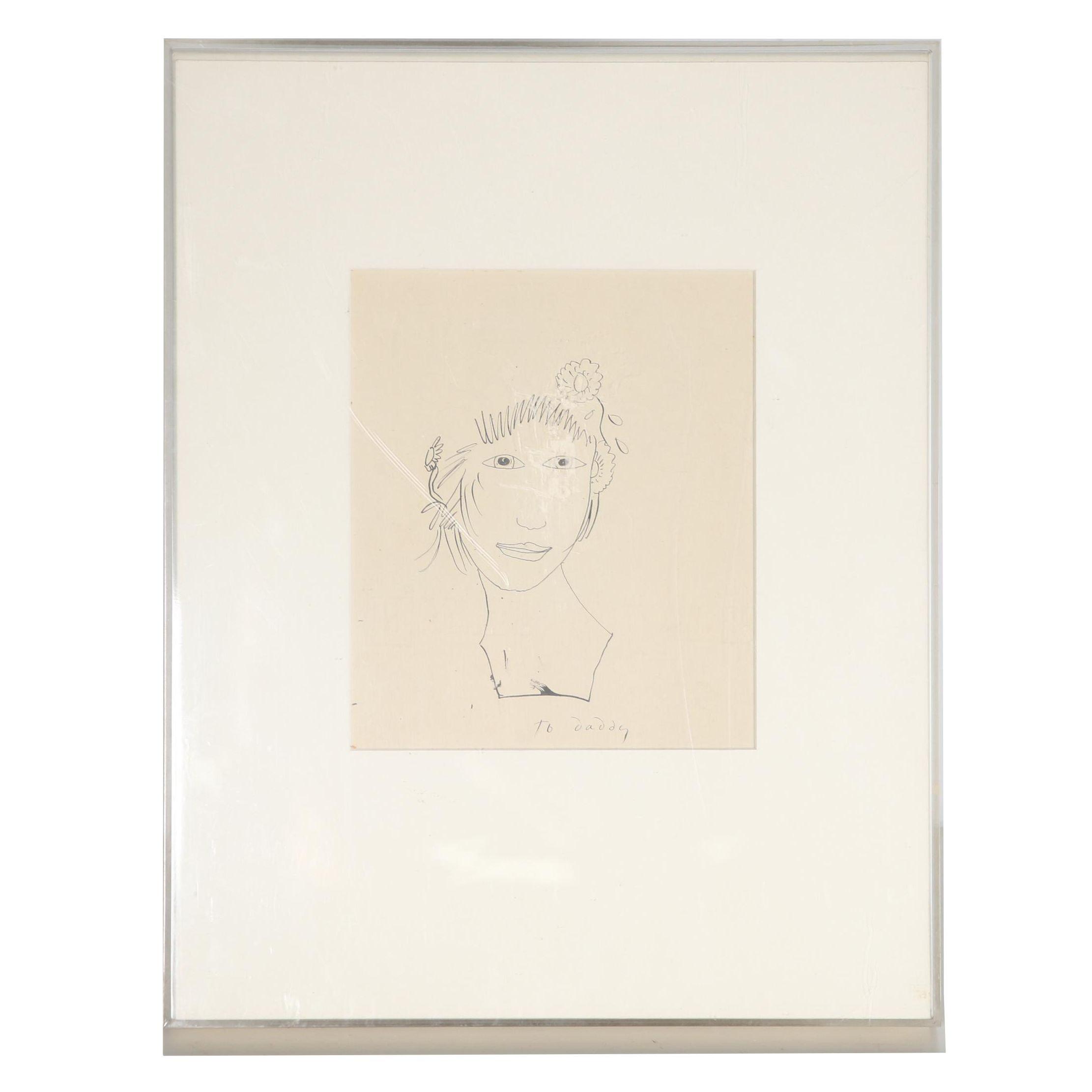 "Pamela Bianco Ink Drawing ""A Girl's Head"""
