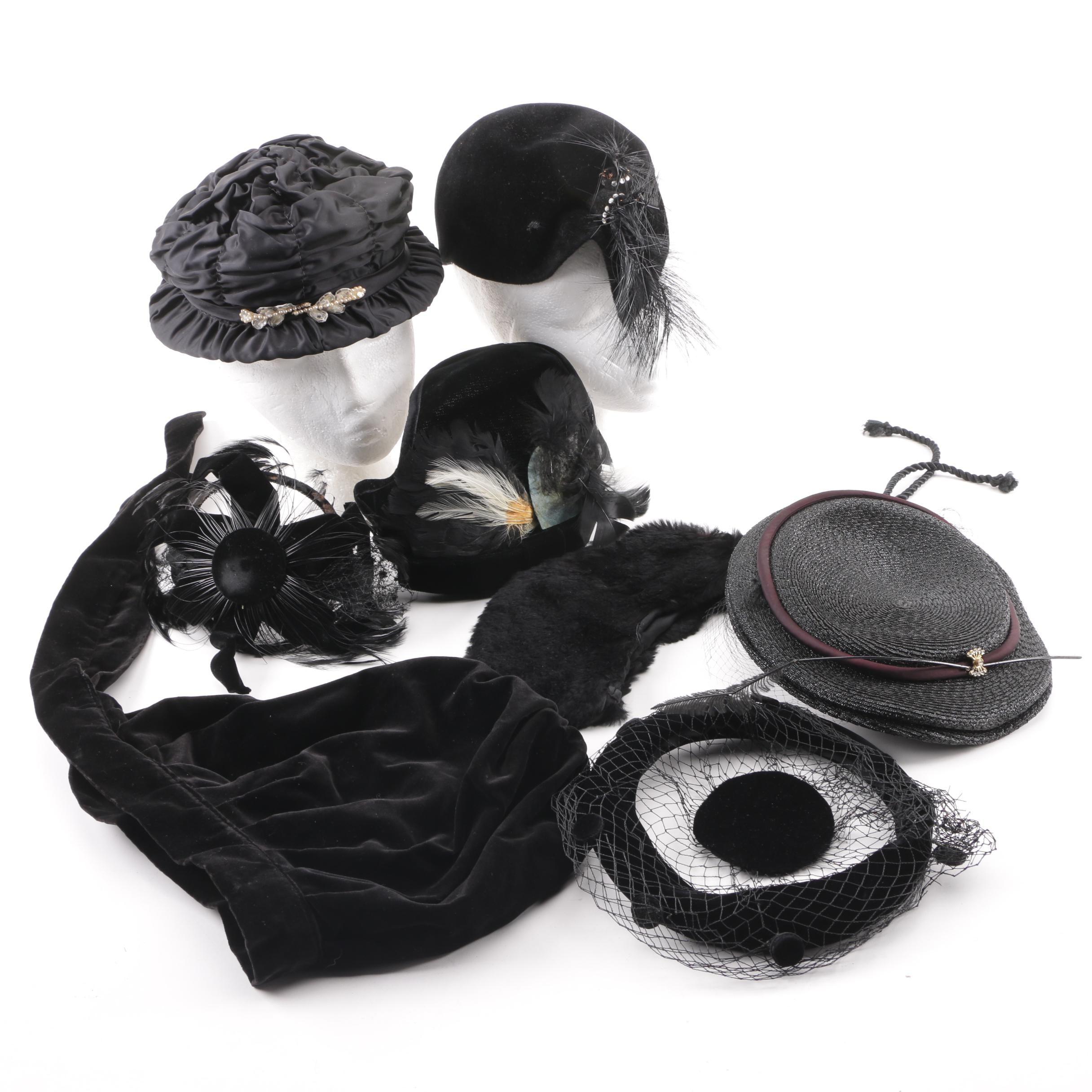 Vintage 1950s Sigma, Foley's, Neiman Marcus, Black Velvet and Fur Felt Hats