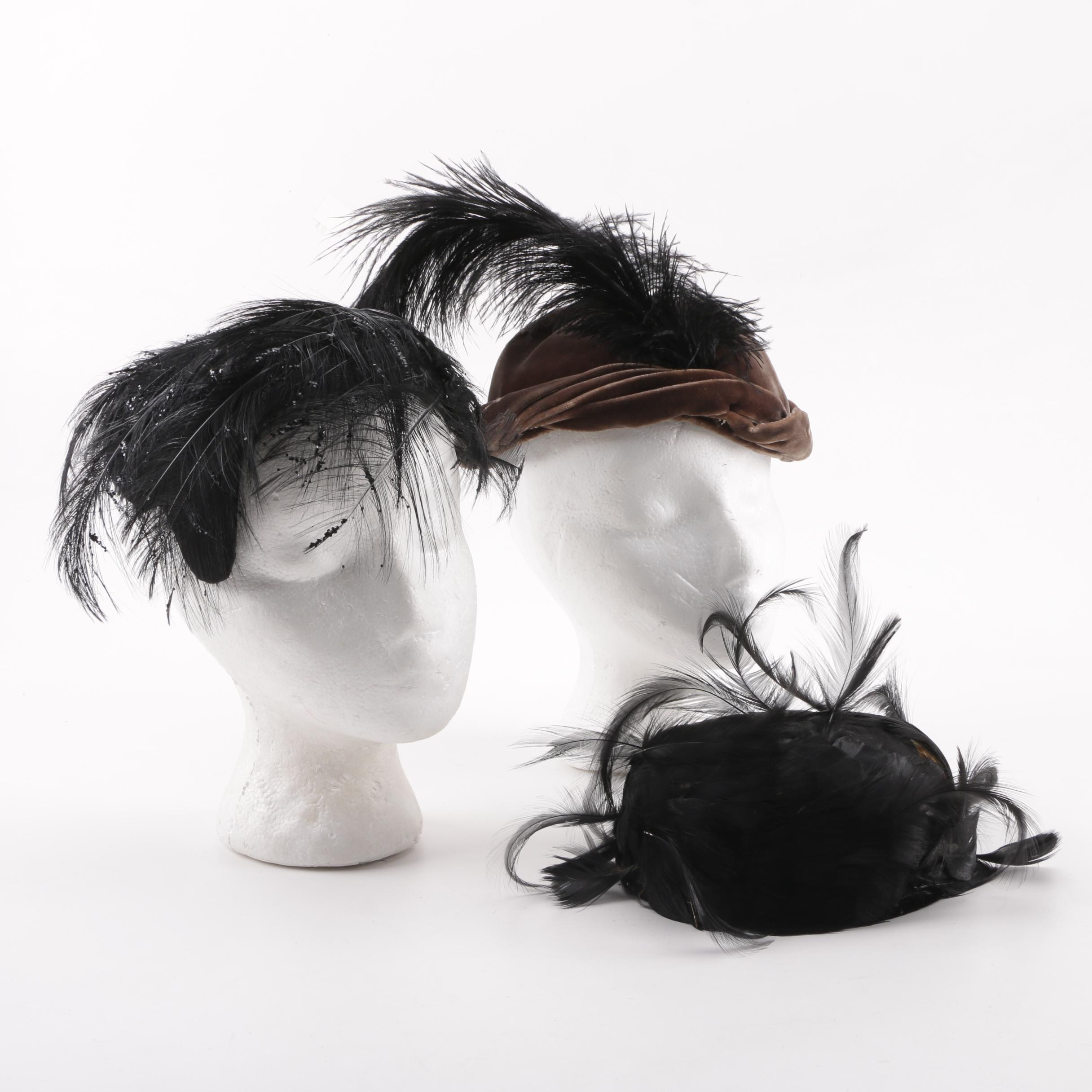 1950s Velvet and Feather Hats Including Ostrich with Hat Box