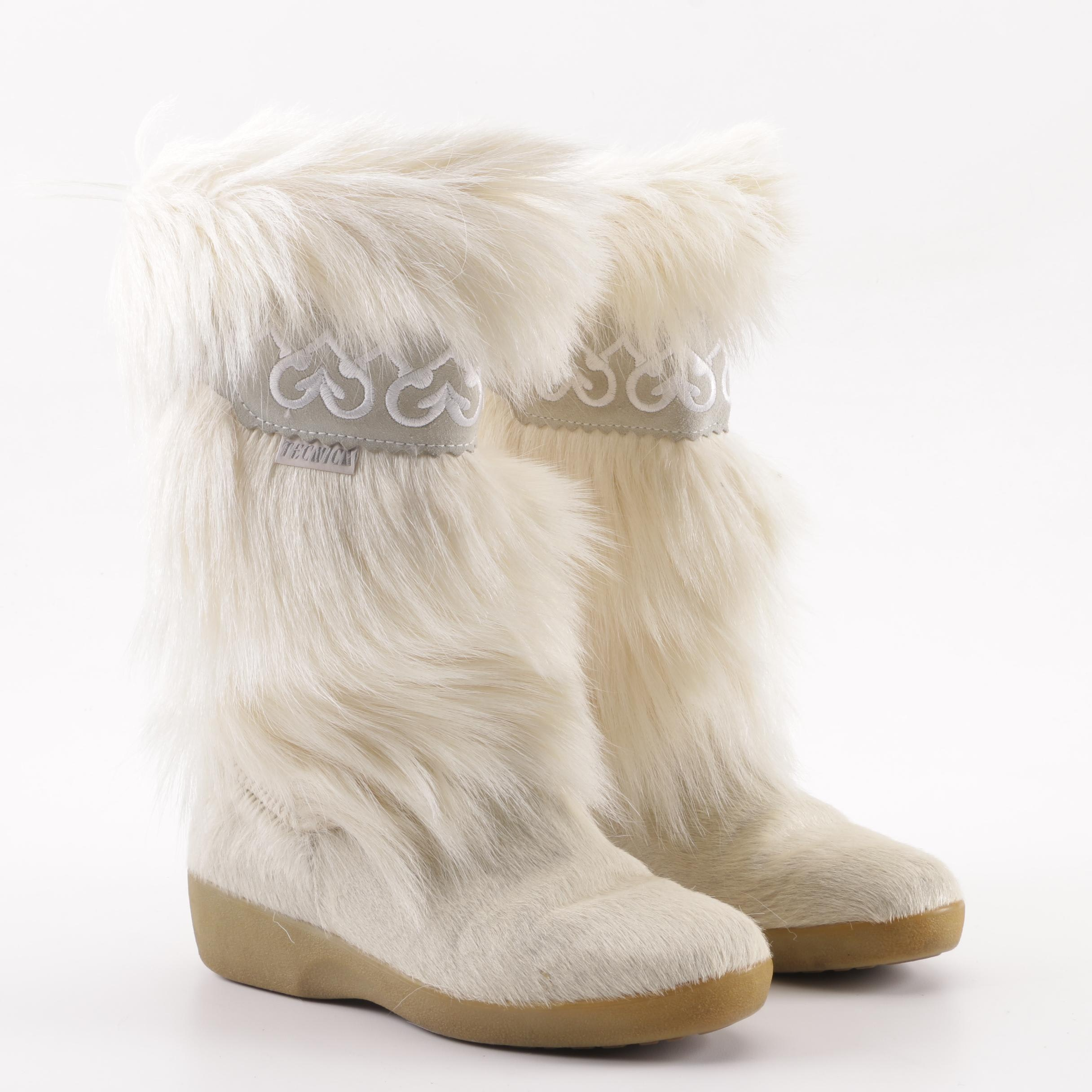 Tecnica White Goat Fur Winter Boots, Made in Italy