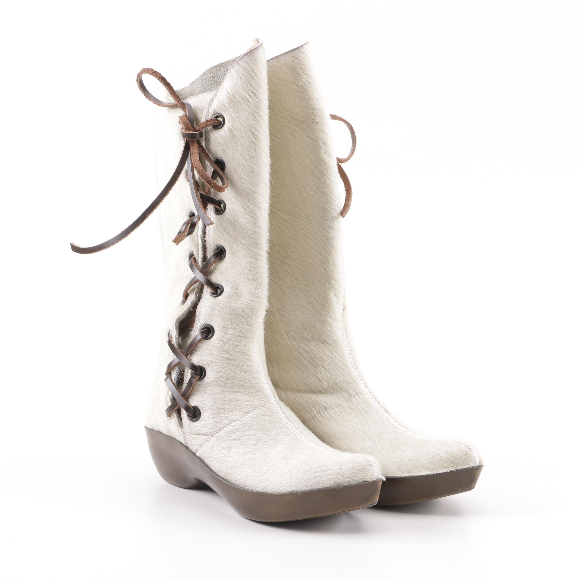 Robert Clergerie Paris White Pony Hair Boots, Made in France
